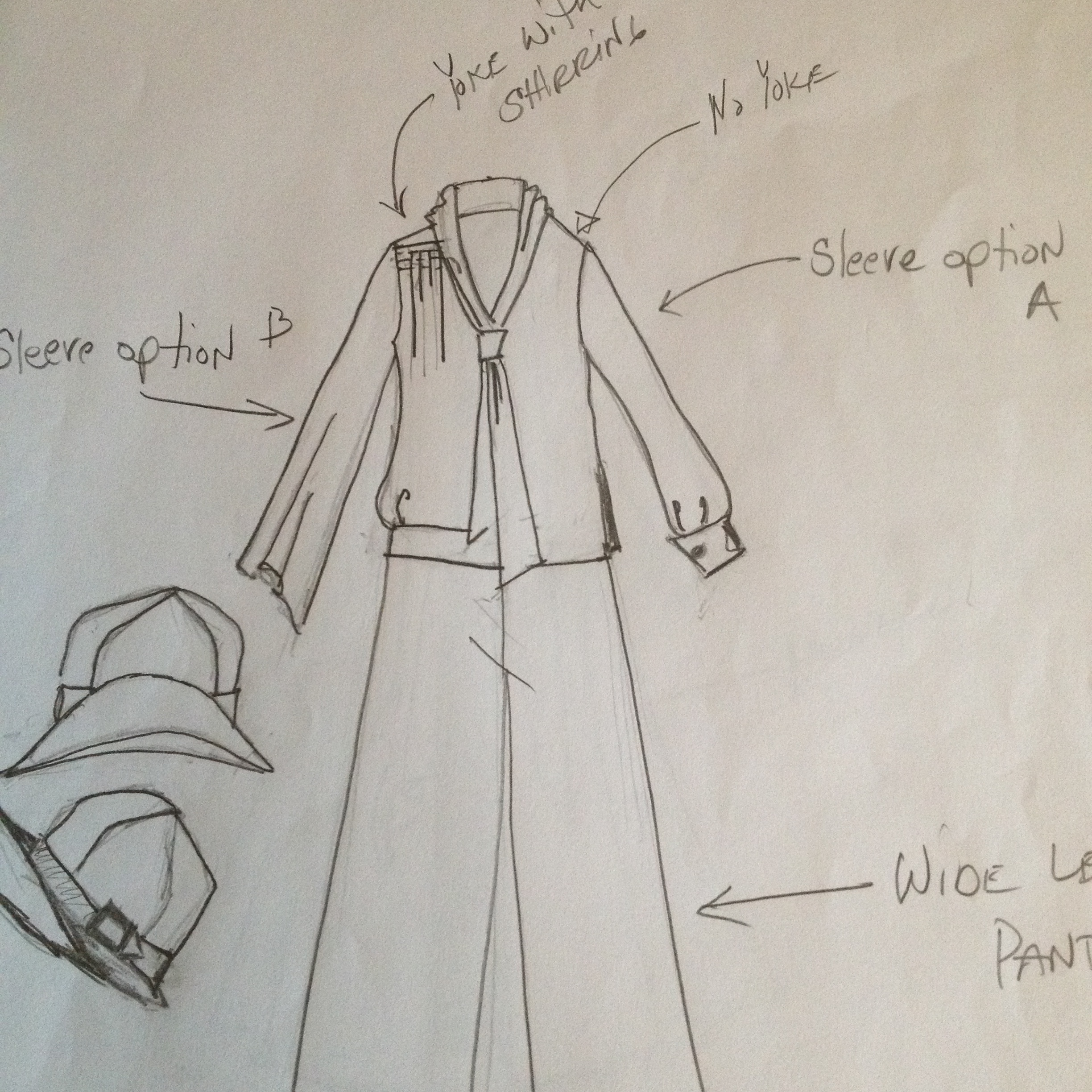 """As you can see, I use my sketch as """"inspiration"""" Clearly I did not copy the details exactly, but used different elements, such as the tie, shirring at the shoulder, different bottom opening etc."""