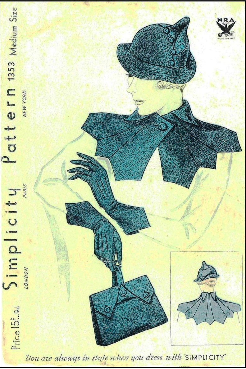 Vintage Pattern Lending Library Style - 1934 Ladies Hat, Gloves, Collar And Purse Ensemble - Reproduction Sewing Pattern #H1353