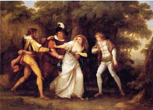 Painting of Silvia being rescued by Valentine.  Angelica Kauffman, 1789.