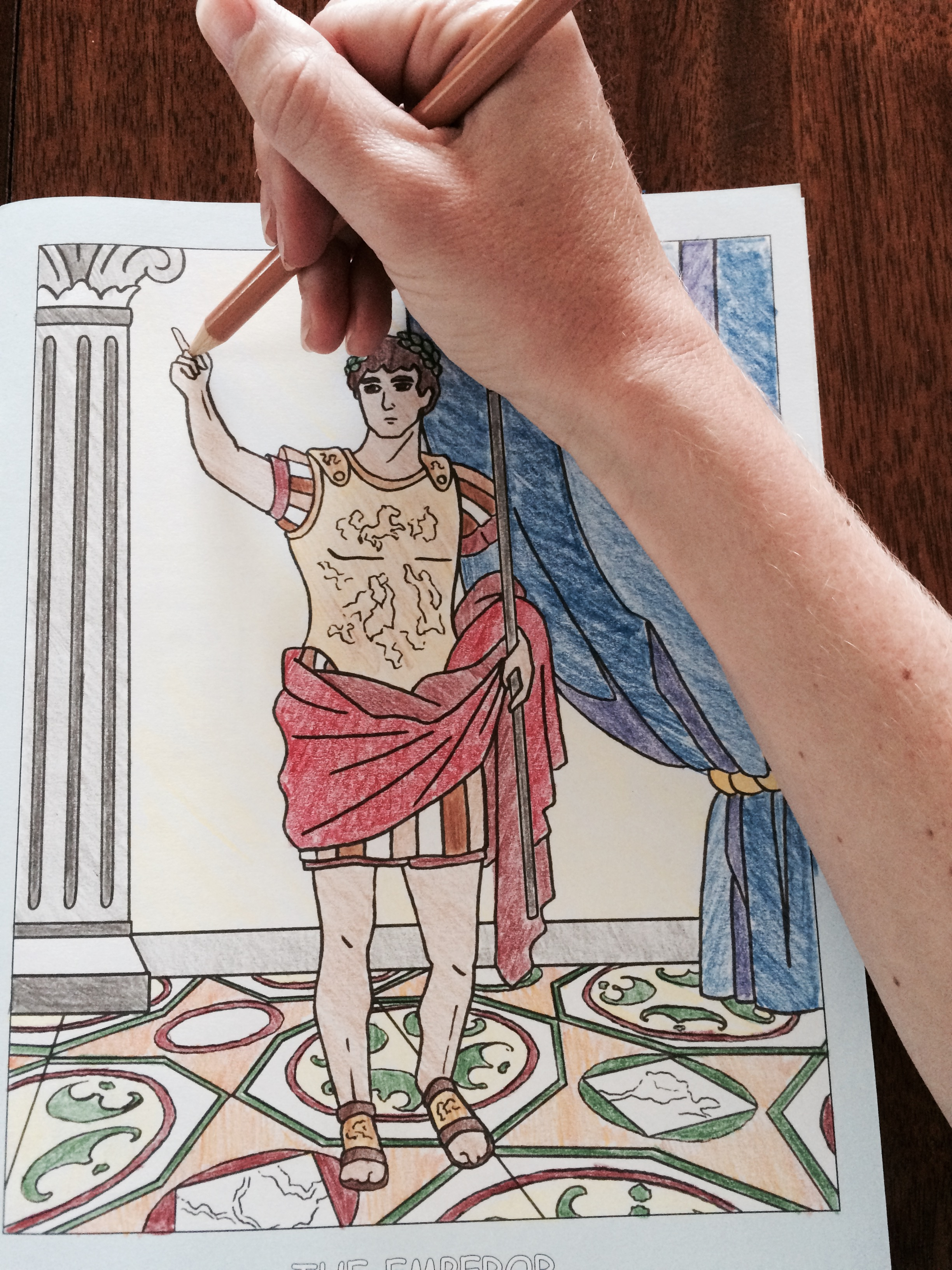 To display my fealty and devotion to the Shakespeare project, I even go above and beyond to track down pages from my kids' Rome coloring book for Caesar imagery! Behold, my handiwork!