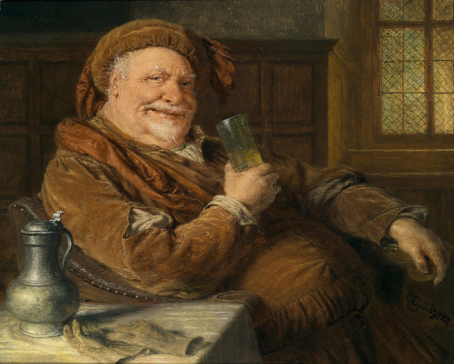 Does this look like a man who's willing to lead someone named Mouldy into battle? One of a series of  Falstaff paintings by Eduard von Grutzner, circa 1921.