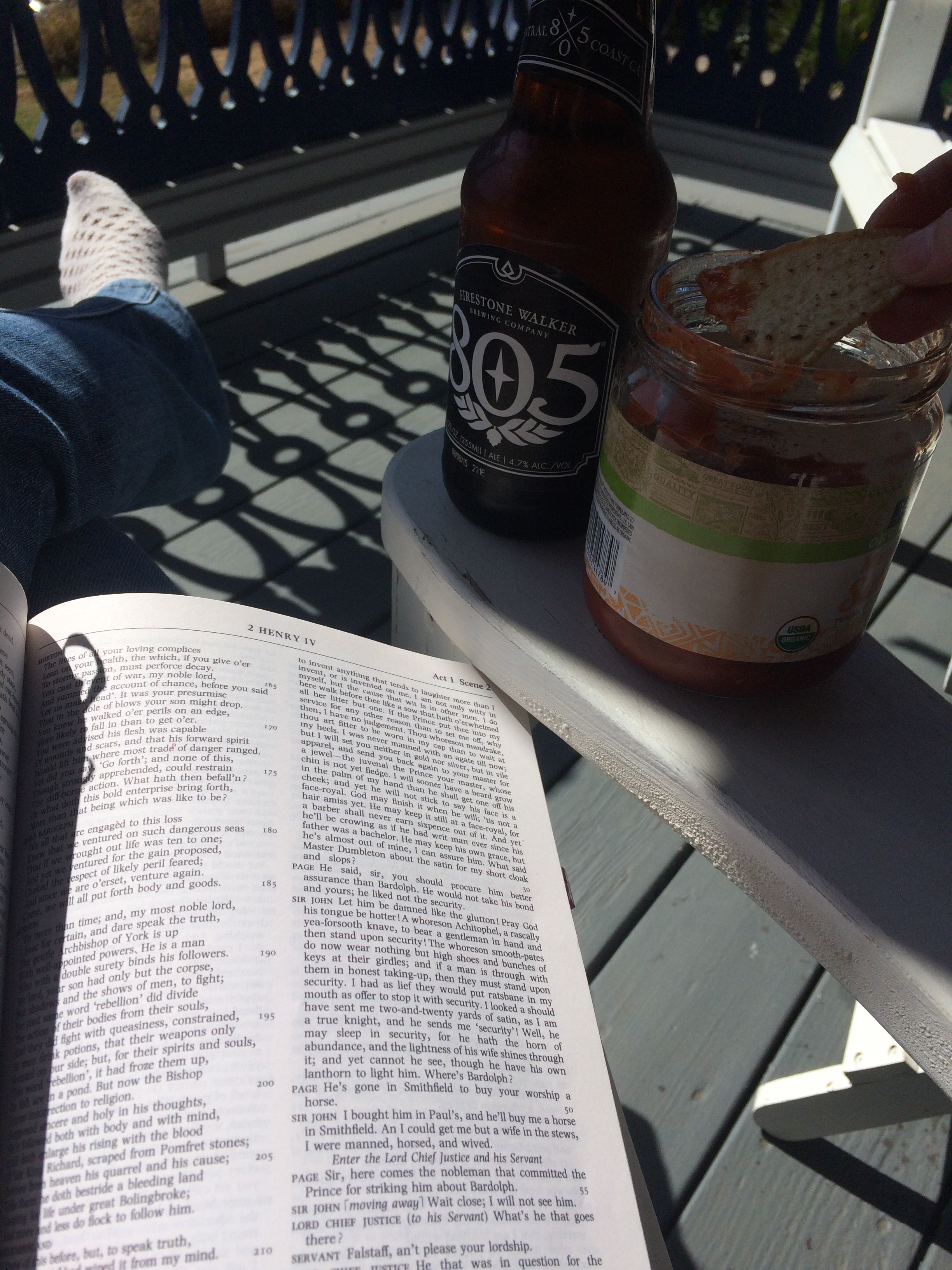 Occasionally, I get to enjoy reading from my  Complete Works  on my sunny front porch while drinking a beer. That combination is one of my all-time favorite activities.