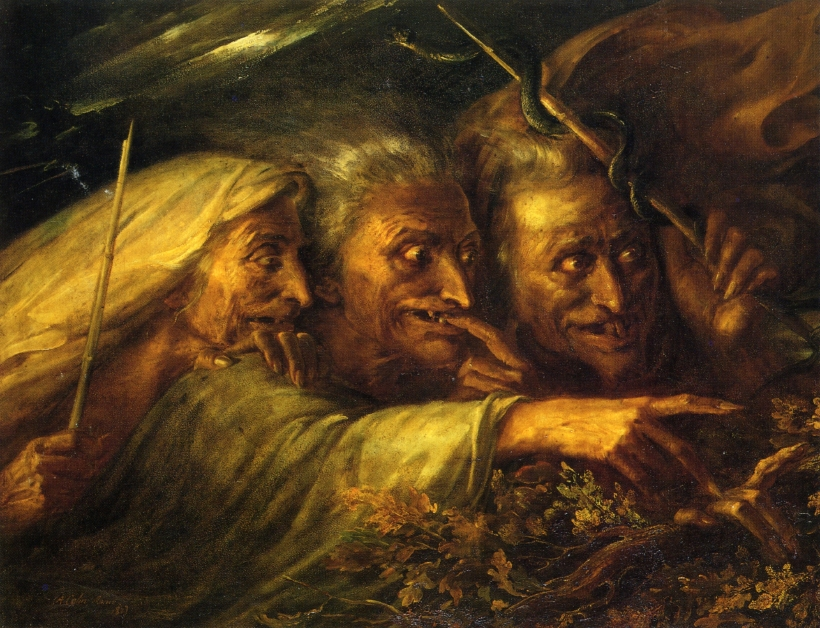 The Three Witches from Macbeth , by  Alexandre-Marie Colin, 1827.
