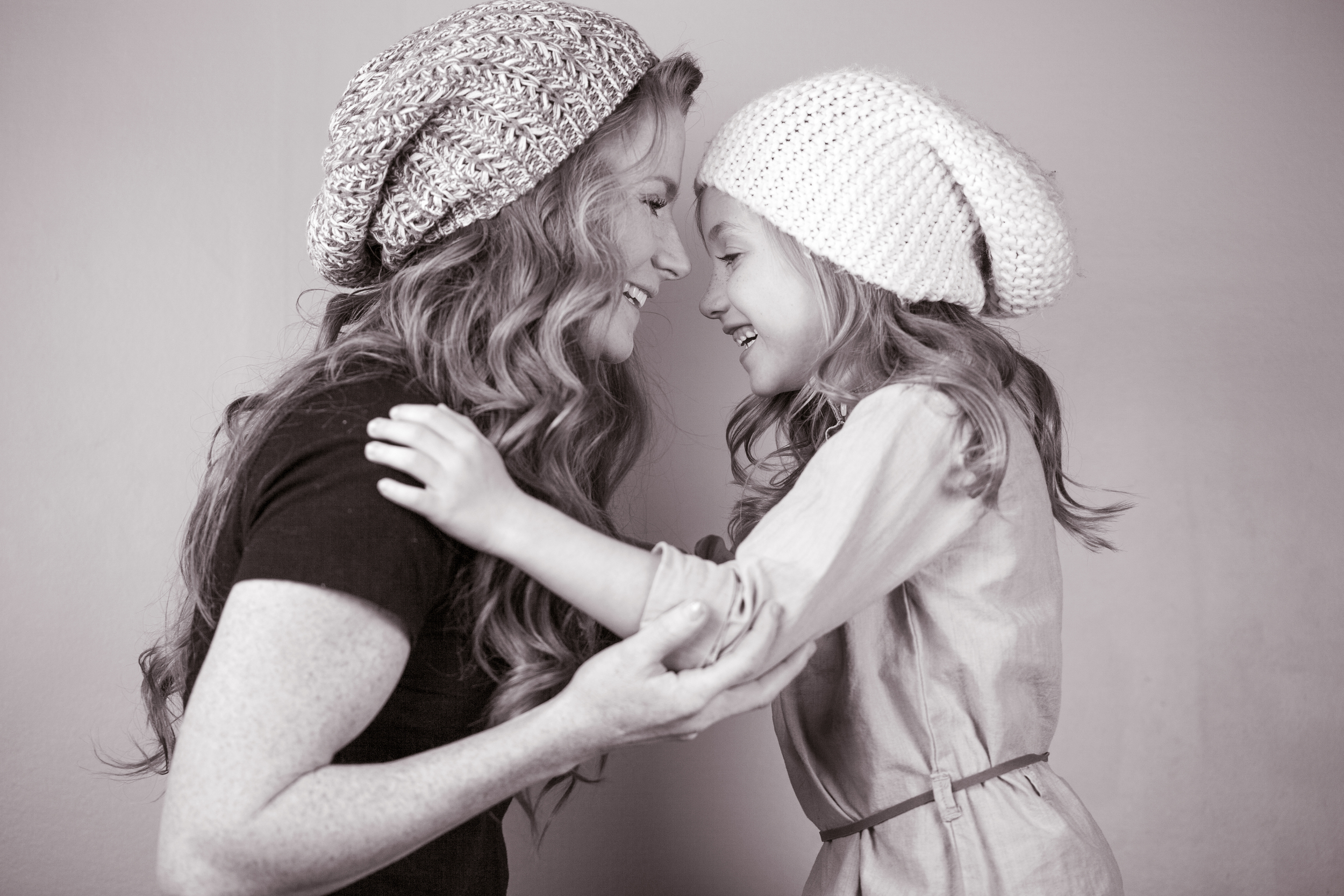 mom daughter mommy me laugh studio black and white atlanta portrait photographer blonde curly hair marietta family kid