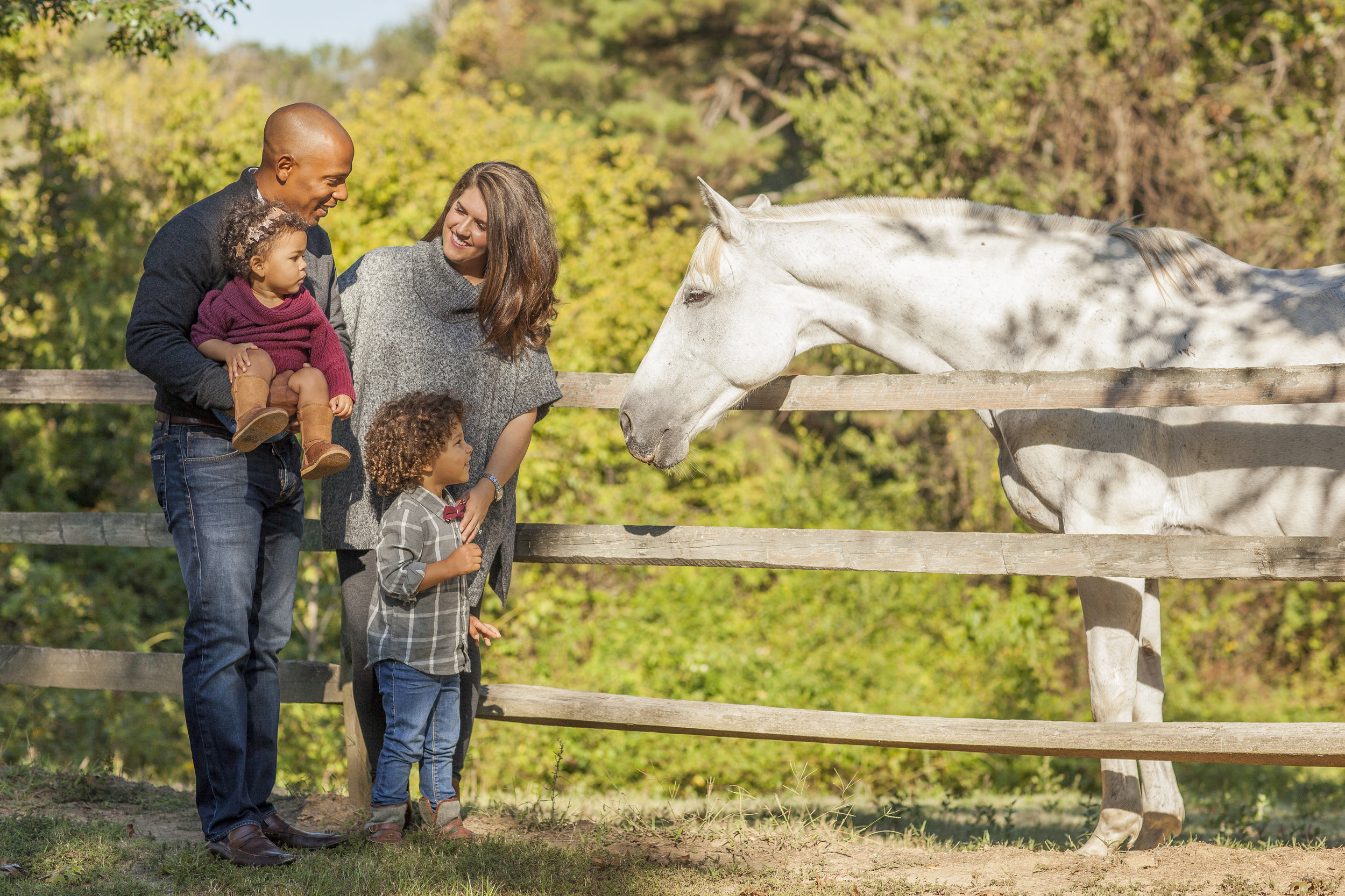 family session young kids mom dad horse outdoor adventure sunny smiles pasture toddler preschool atlanta interracial riding horses