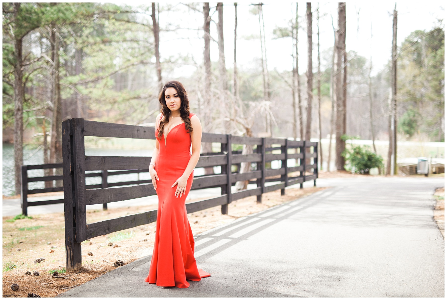 prod red dress outdoors park shoot