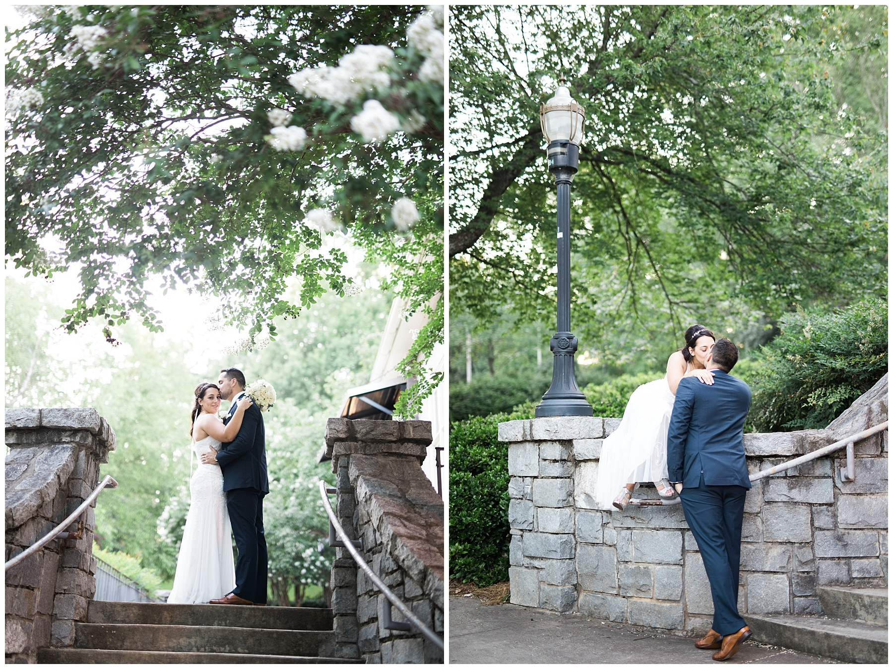 atlanta piedmont park steps stone bride groom romance kiss classic