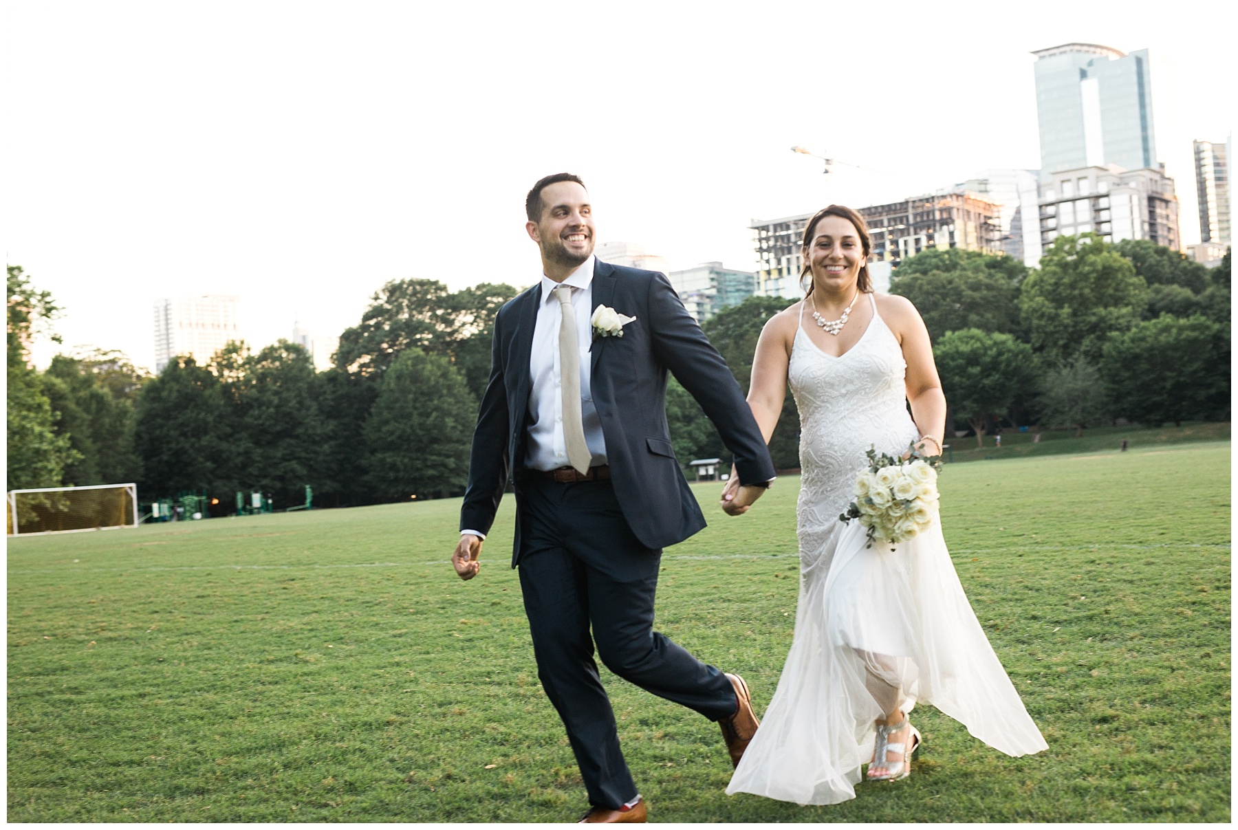 couple skyline run skip piedmont park bride groom elope elopement atlanta
