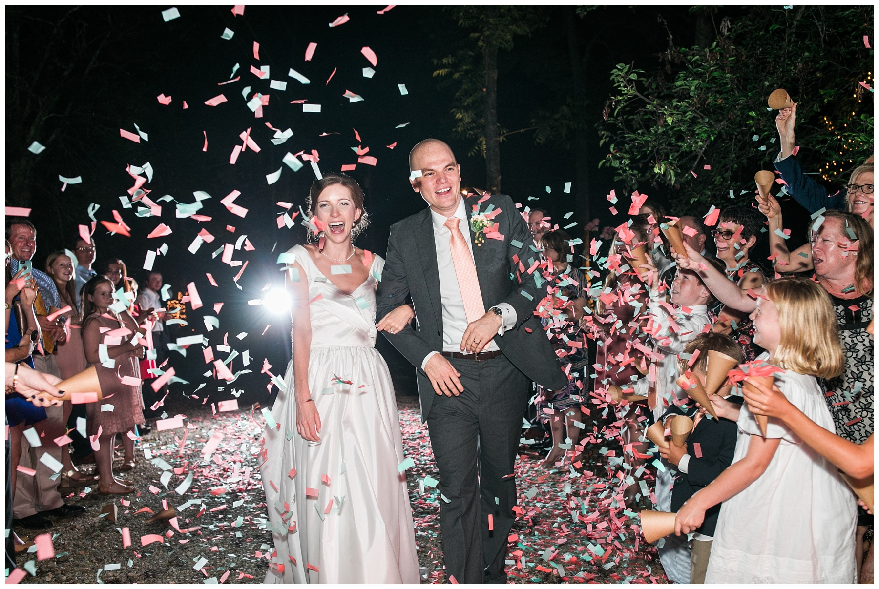 wedding grand exit confetti colorful happy