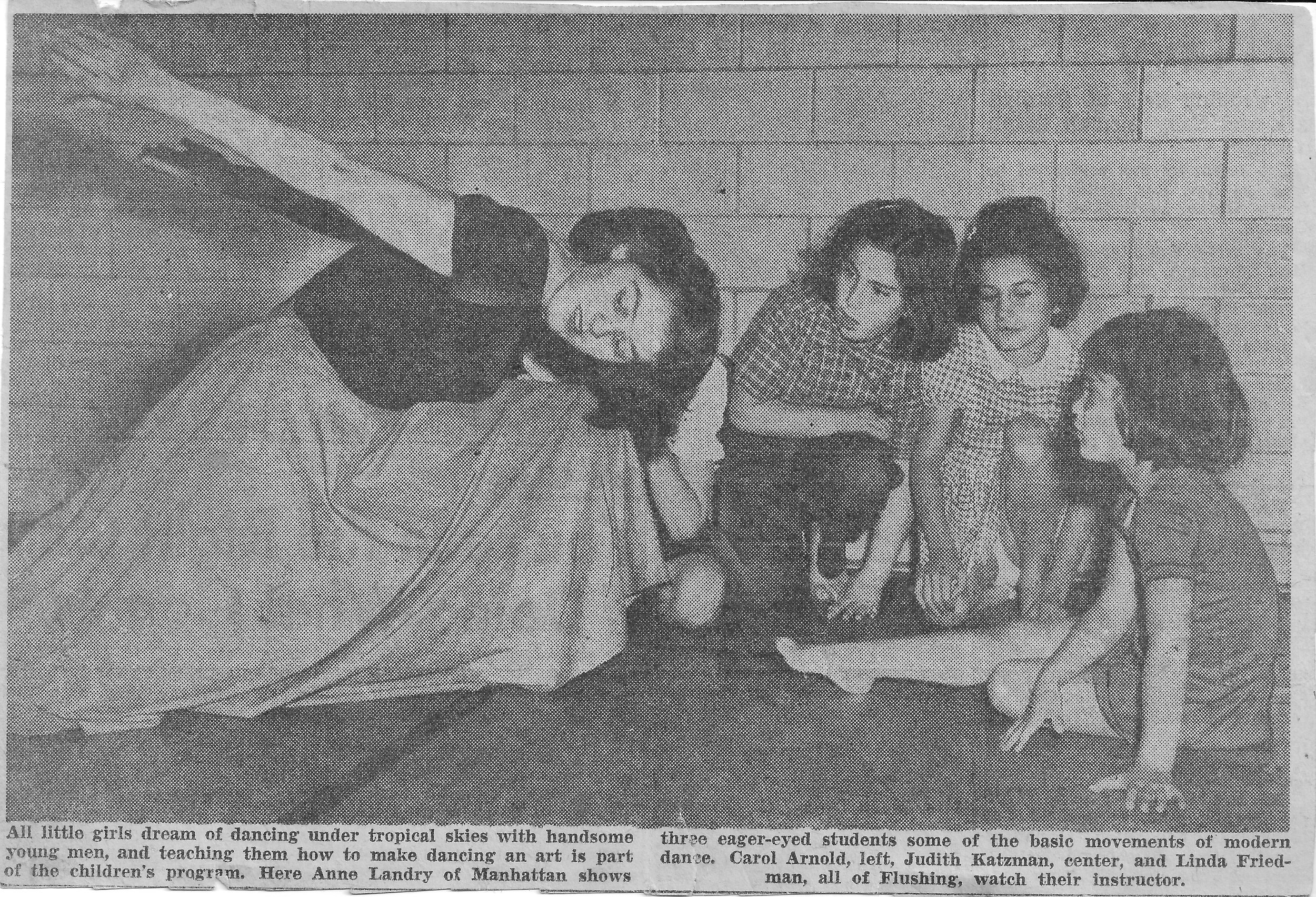Linda (right) in ballet class, in a local paper