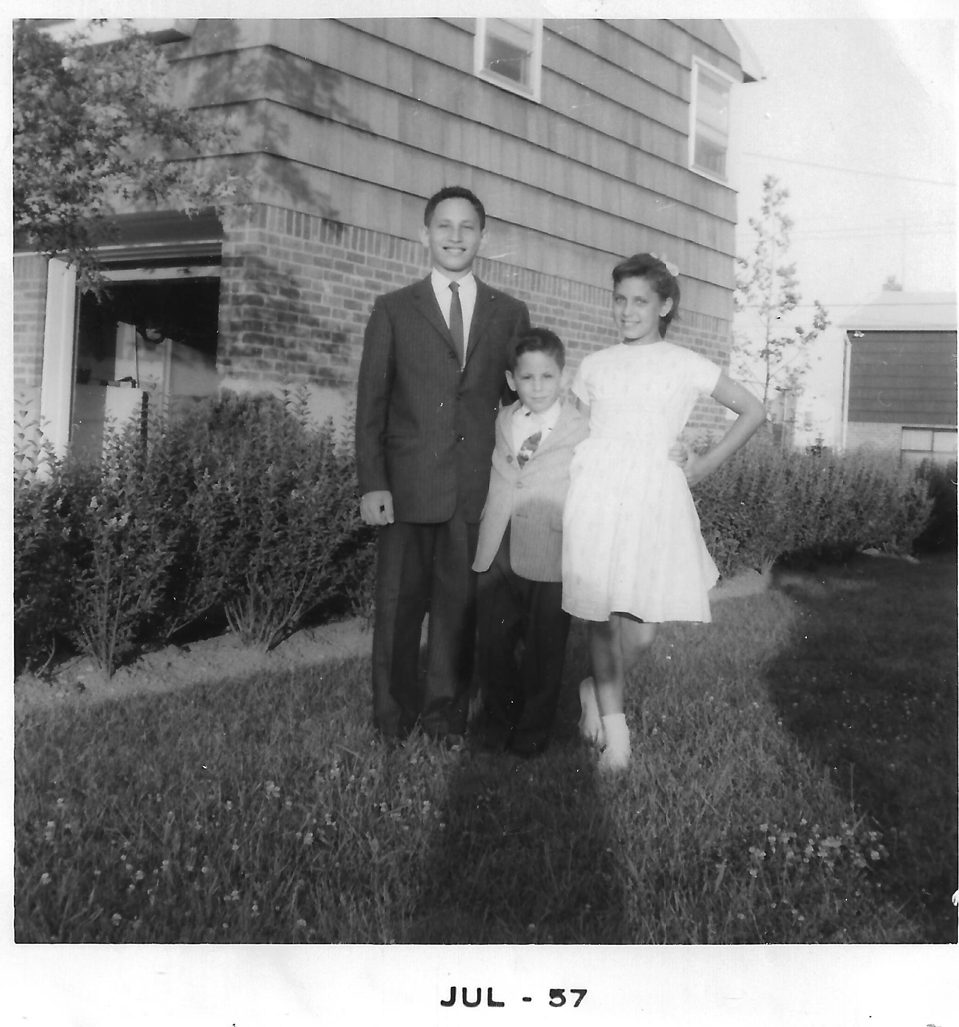 Left to right: David, Larry (Lev), Linda - dressed up for a party in July 1957