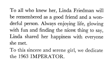 Dedication in Linda's high school yearbook, the Jericho Imperator.