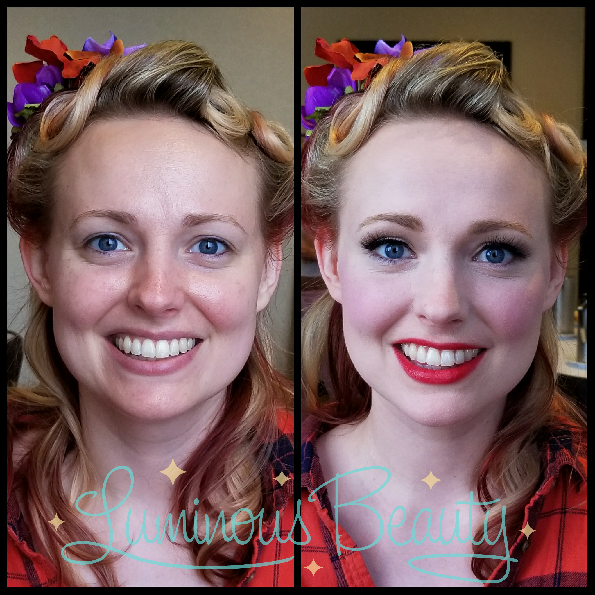 Pinup Bridesmaid with Porcelain Skin. Winged Liner with Lashes and Red Lip. Luminous Beauty Hair & Makeup..png