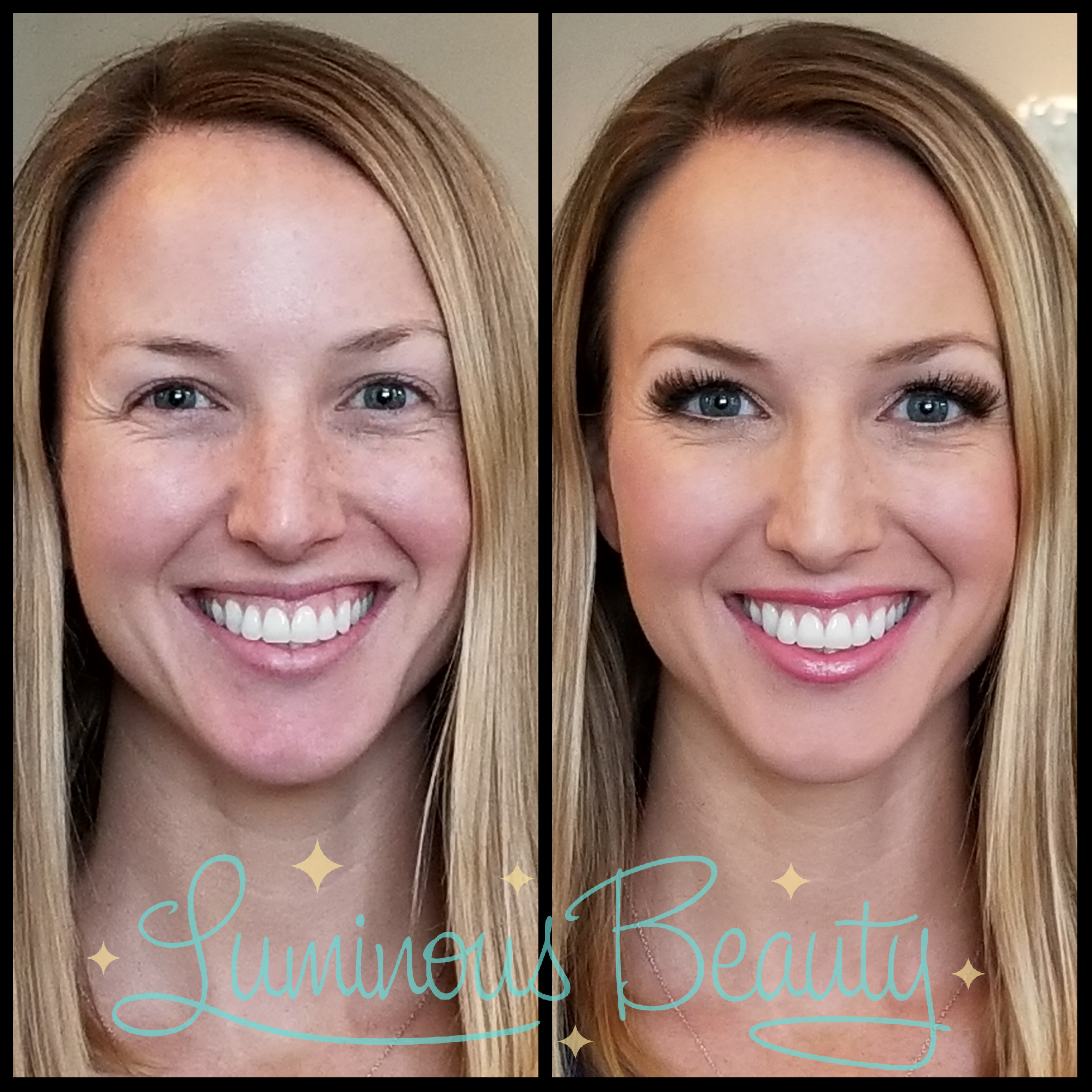 Glowy Skin, Bright Eyes and Pink Cheeks. Aibrush Makeup with False Lashes Bridesmaids Makeup. Luminous Beauty Makeup Artist..png