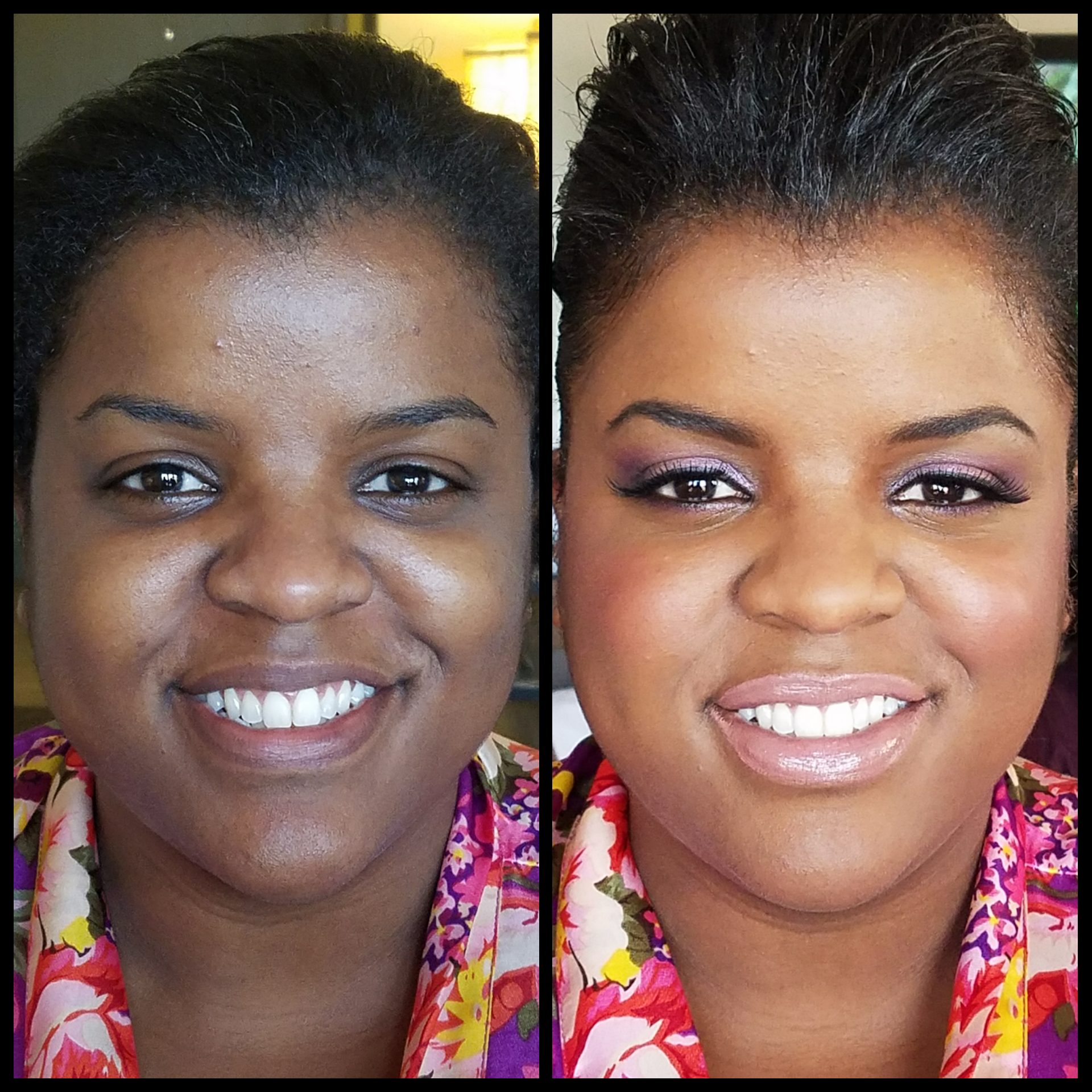 Defined Brows and Smokey Eyes. Bridesmaids Makeup with Lashes. Glowing African American Makeup Application. Luminous Beauty Makeup Artist..png