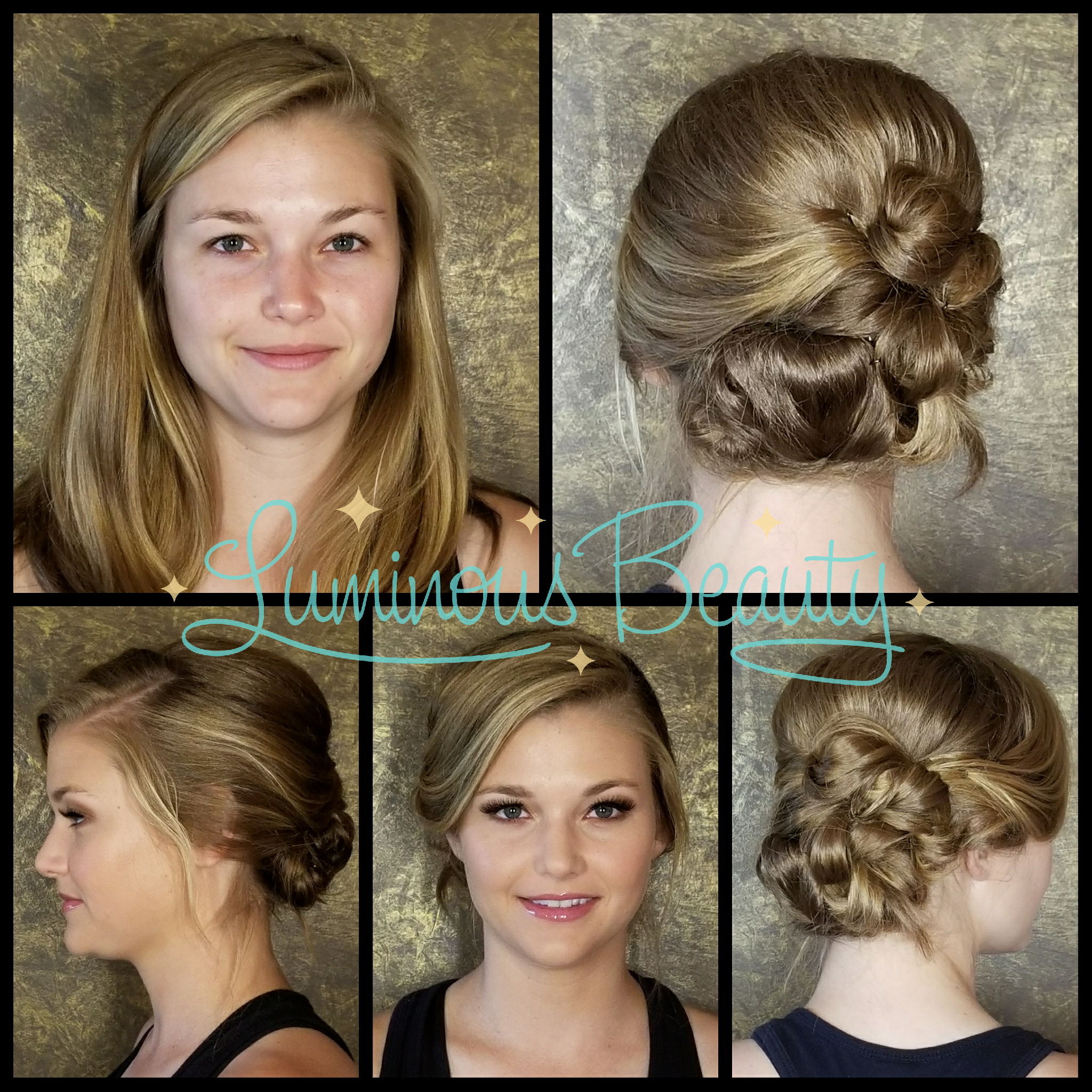 Bridesmaid's fresh makeup with airbrush and false lashes. Twisted knot updo with sideswept front and volume. Luminous Beauty Hair & Makeup.png