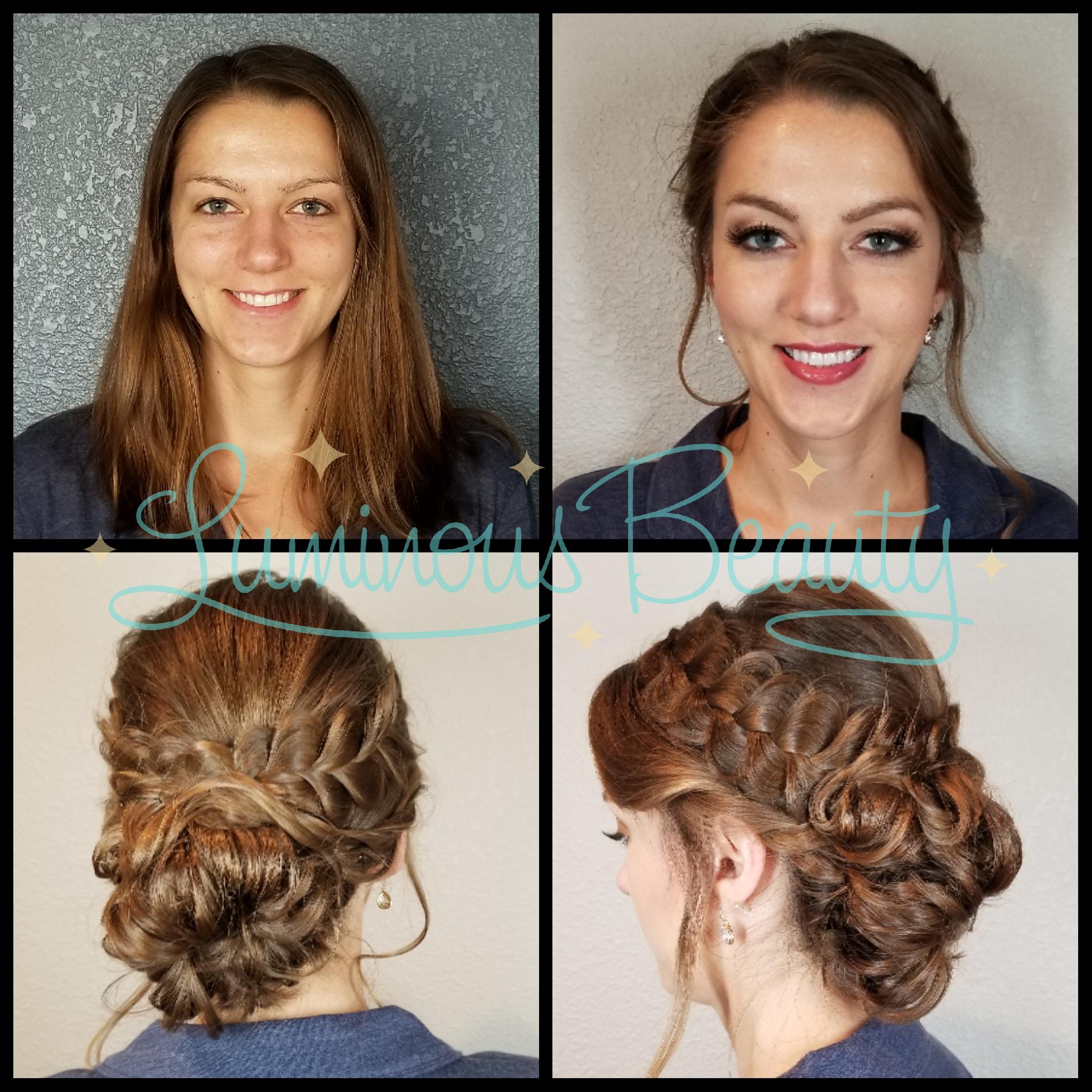 Bridesmaid's Hair & Makeup. Soft Loopung Updo with Braid. Pkum Smokey Eye, Pink Cheeks, False Lashes. Luminous Beauty Makeup Artist and Luminous Beauty Hairstylist..png