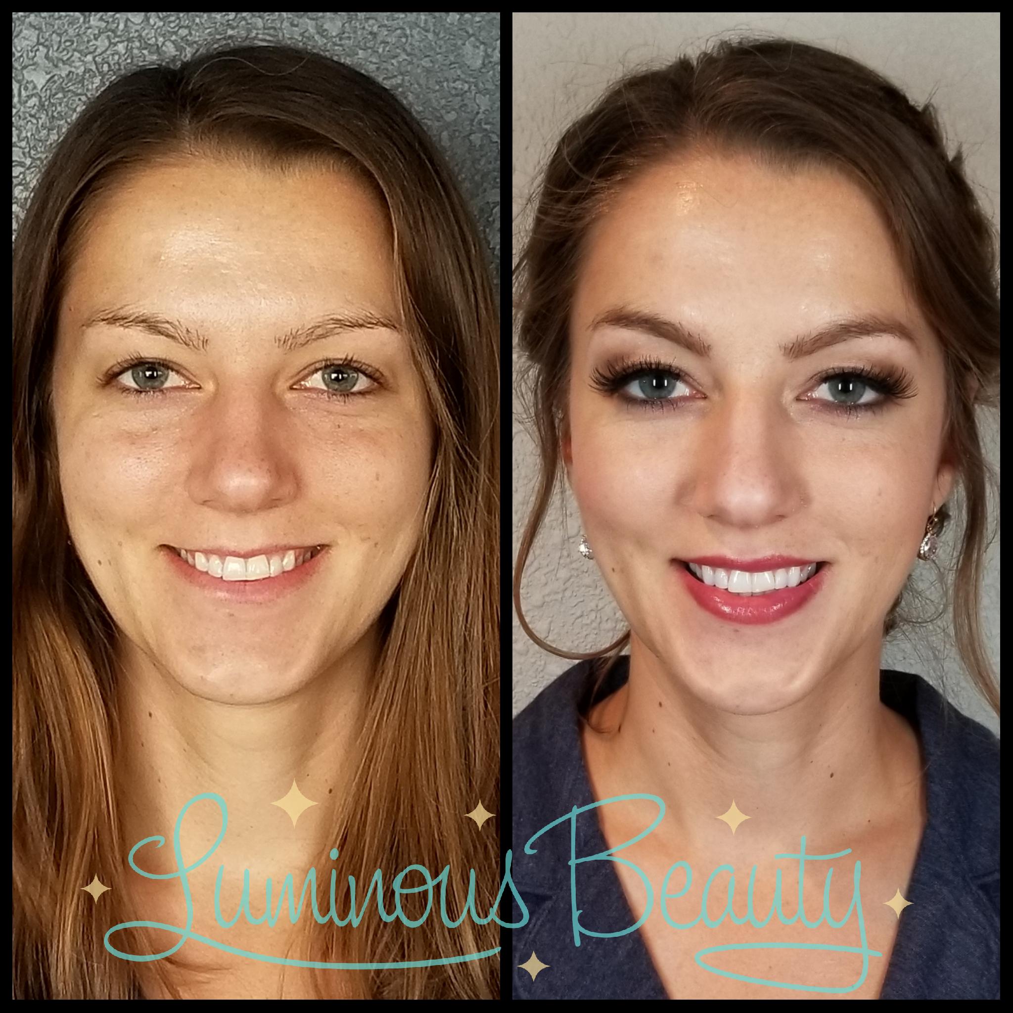 Bridesmaid's Hair & Makeup. Soft Looping Updo with Braid. Plum Smokey Eye, Plum Lips, False Lashes. Luminous Beauty Makeup Artist and Luminous Beauty Hairstylist..png