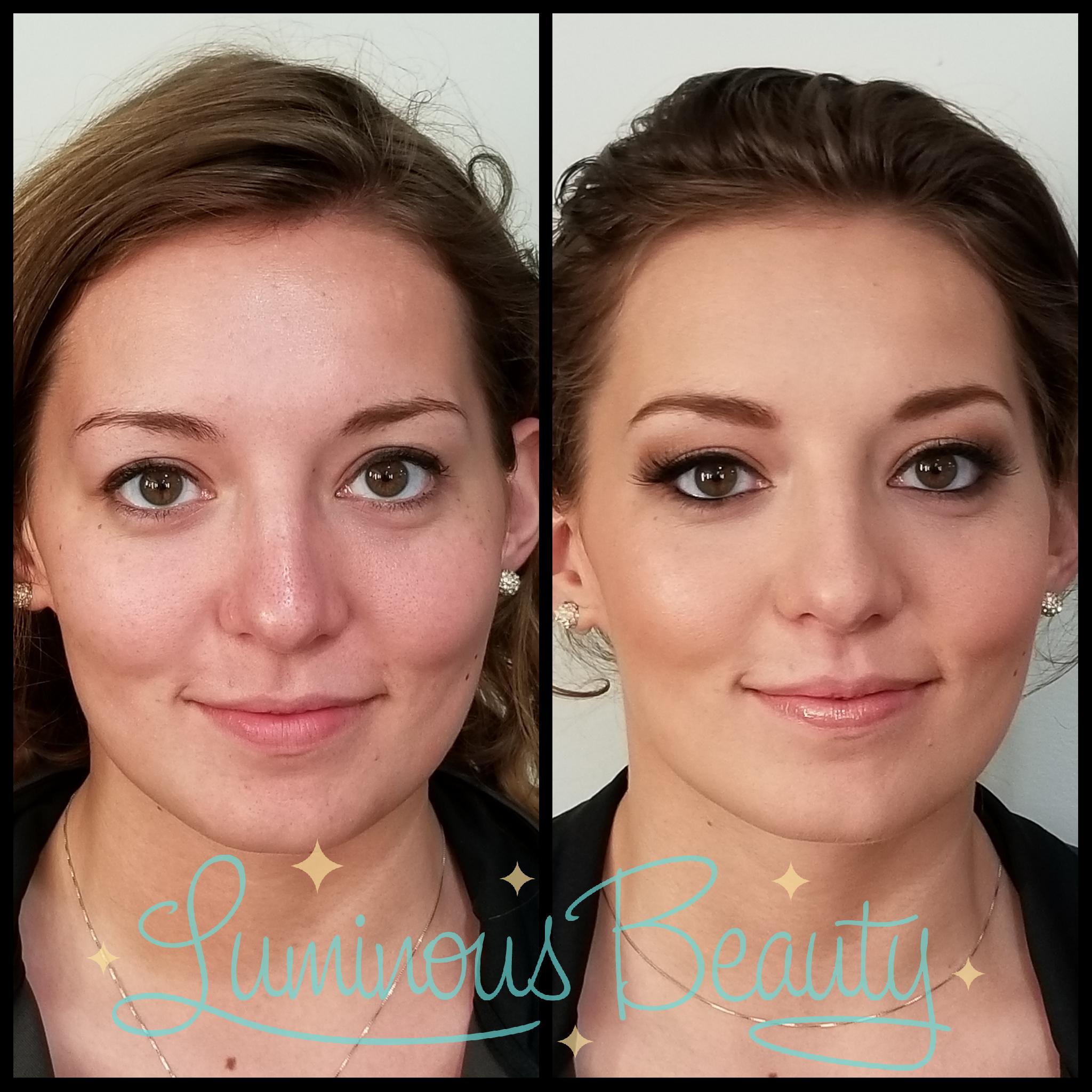Bridesmaid Makeup. Airbrush. Golden Smokey Eye Makeup with False Lashes & Peachy Lip. Luminous Beauty Makeup Artist..png