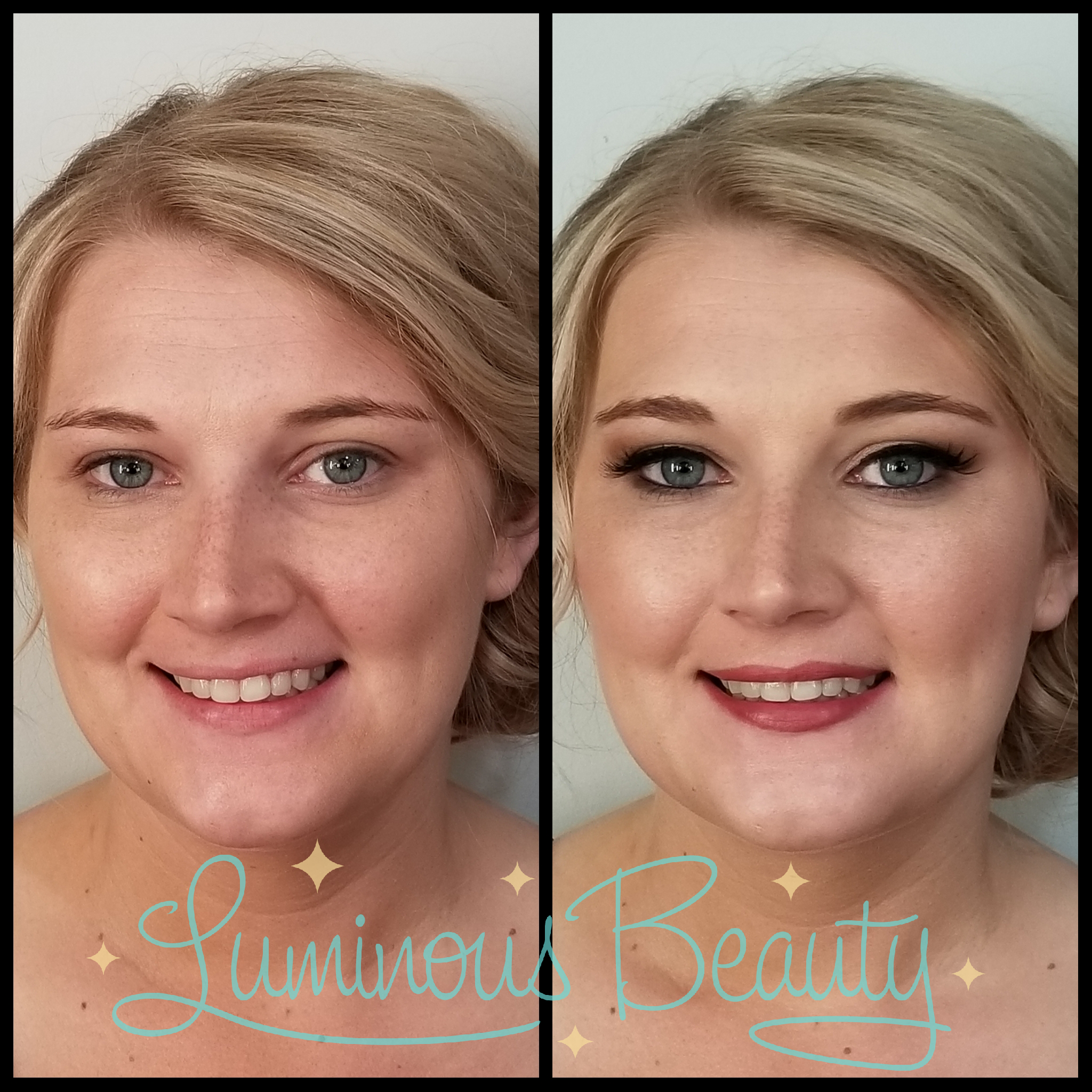 Bridesmaid Makeup. Airbrush Makeup. Clean Skin, Smokey Eye Makeup with False Lashes & Bold Lip. Luminous Beauty Makeup Artist..png