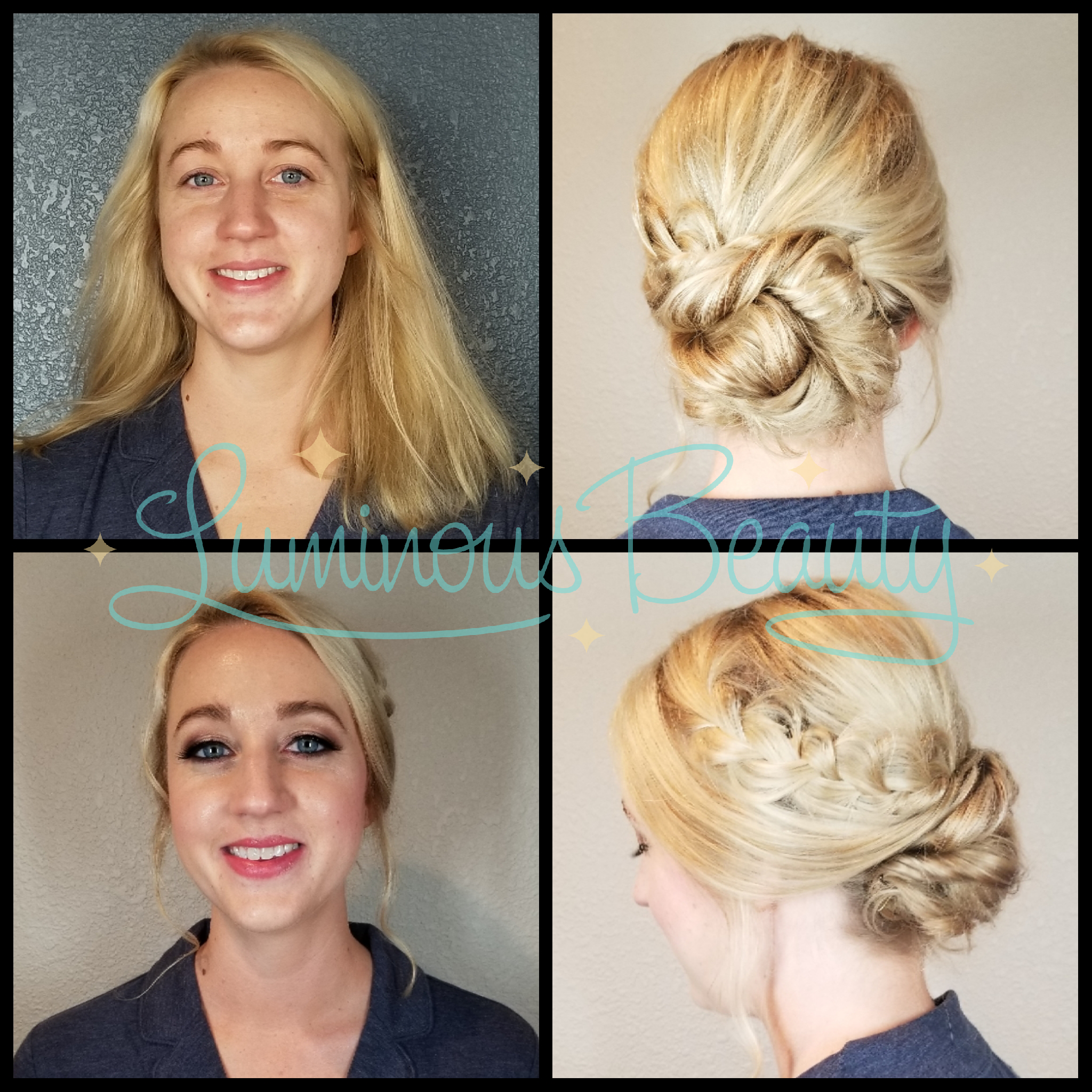 Bridesmaid's Hair & Makeup. Blonde Updo with Braid. Sultry Smokey Plum Eye, and Mink False Lashes. Luminous Beauty Makeup Artist and Luminous Beauty Hairstylist..png