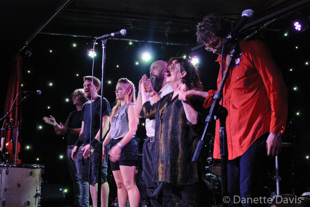 L-R: Val Kiossovski, Chris Stromquist, Paris Hurley, Gino Yevdjevich, Amy Denio, and Guy M. Davis, Kultur Shock,  2016 , at Chop Suey