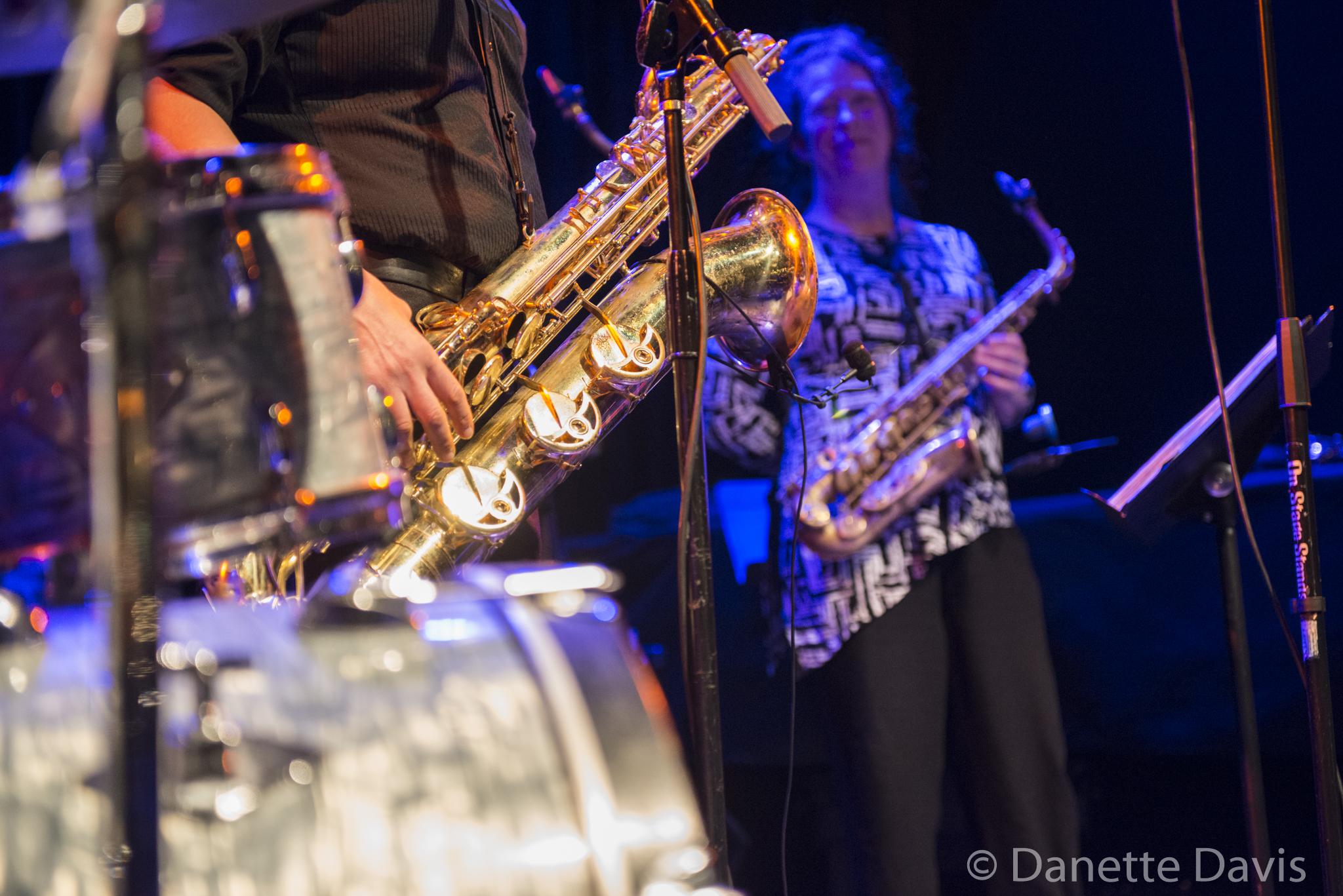 L-R: Tina Richardson and Amy Denio, The Tiptons Sax Quartet,  2016