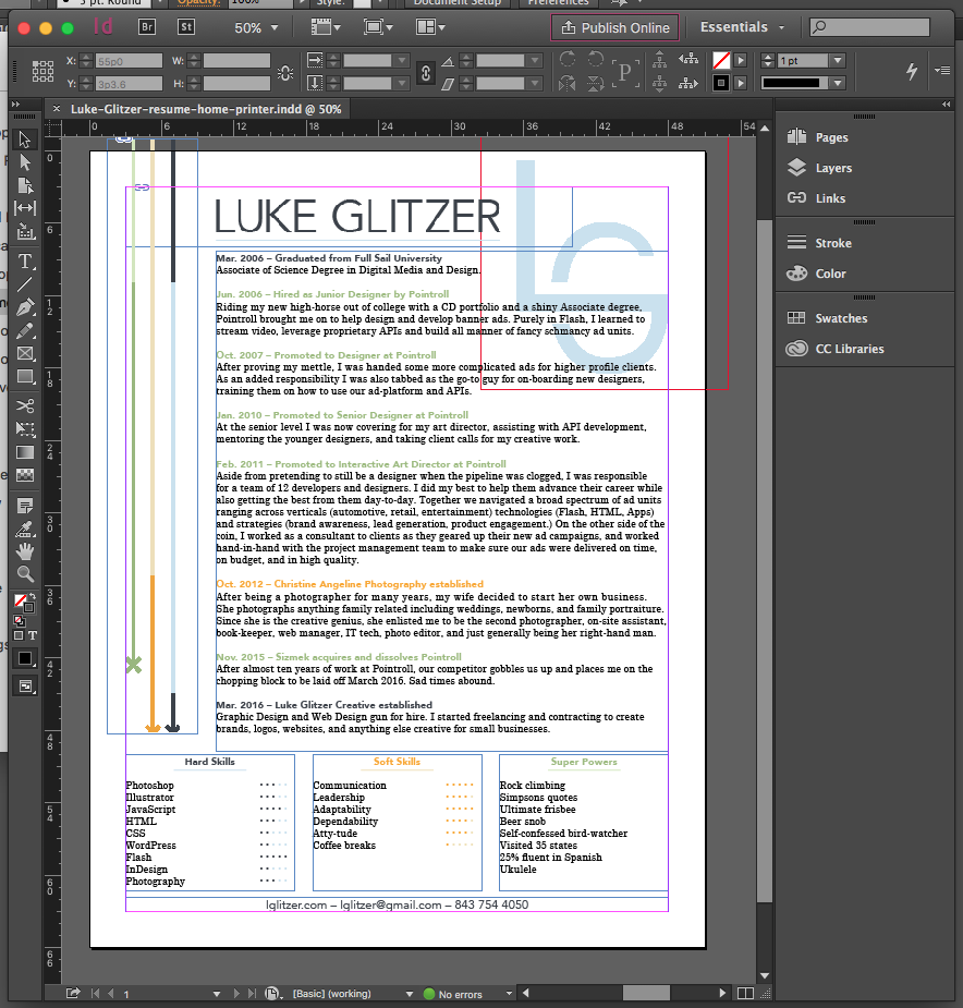 InDesign final resume layout