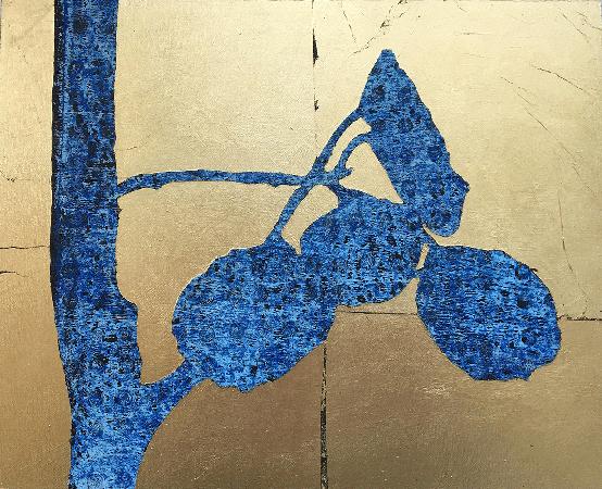 """Aspen Leaves"", acrylic and gold leaf, 8"" x 10"" on hardboard panel ©nancgordon21017"