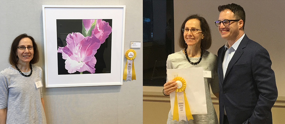 "Nanc Gordon and her painting,   Summer Glory  , watercolor, 22""x22"" Also Nanc Gordon and Jordan Roth, one of the jurors from Ro2 Gallery.."