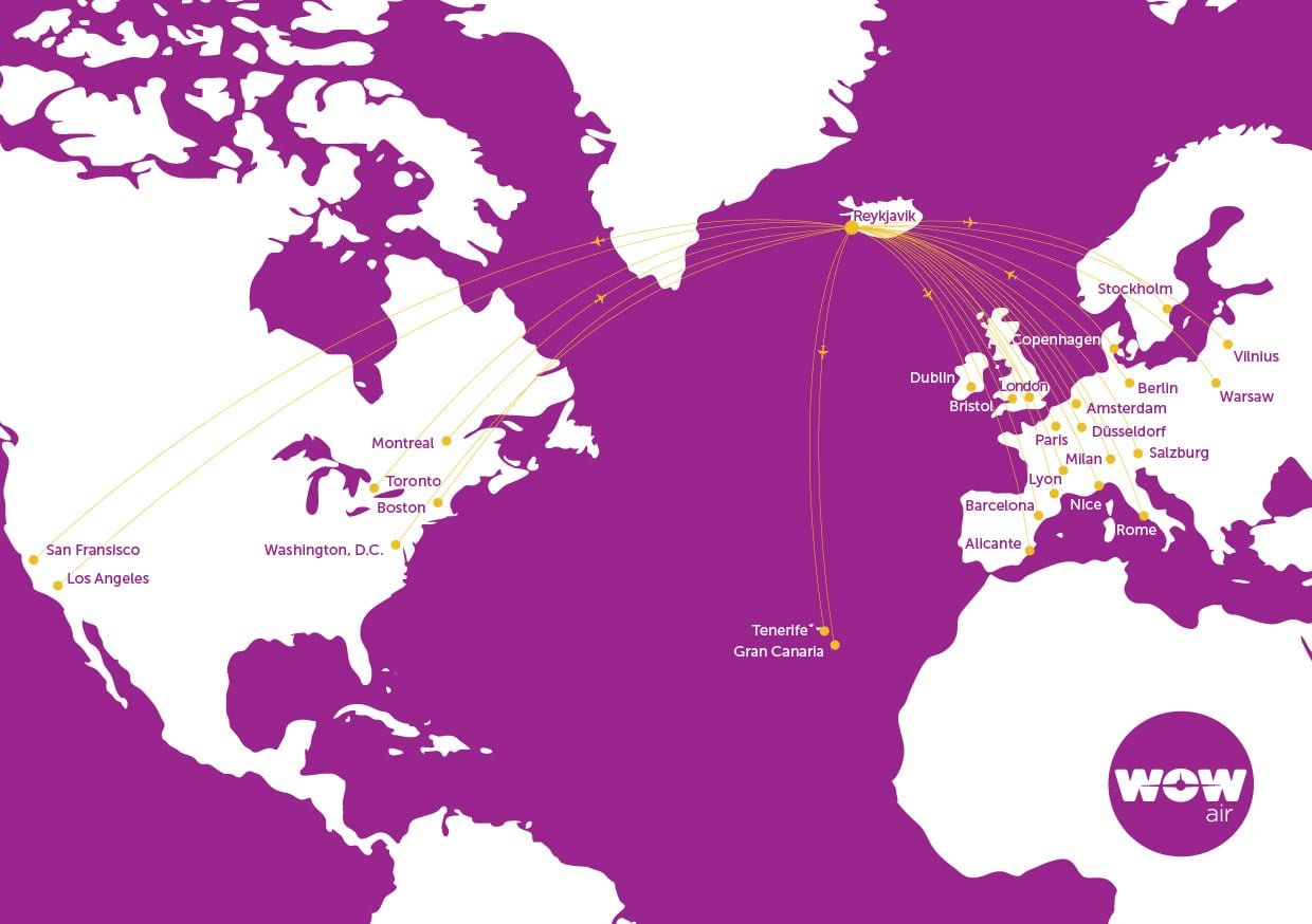 WOW Air flies to 20 locations from it's hub in Reykjavik, Iceland.