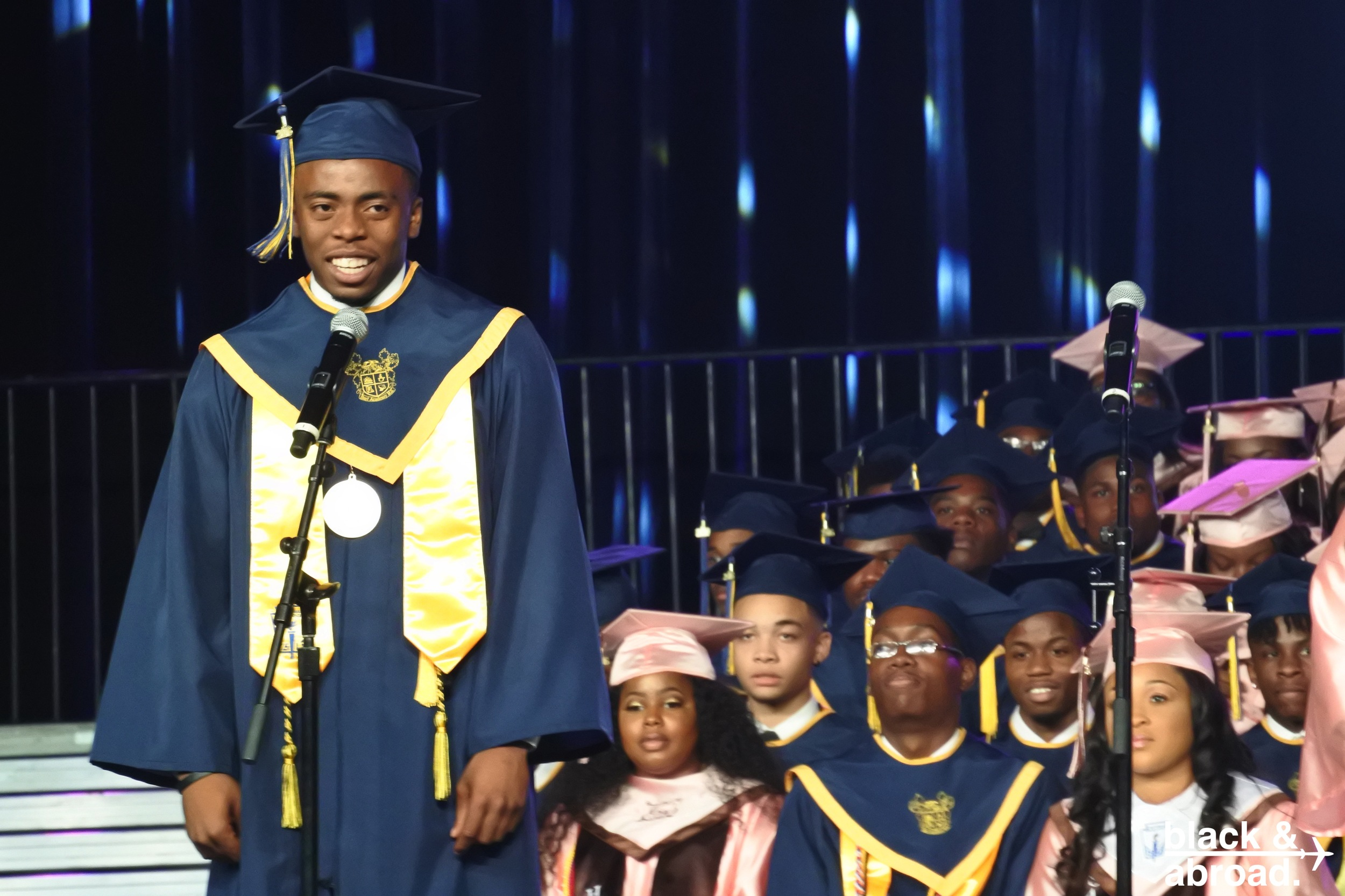 """Qwantayvious is the Valedictorian of the 2016 graduating class of B.E.S.T. Academy! He is also the recipient of the 2016 Emerging Leaders Scholarship, an International Science Fair finalist, the Atlanta Public Schools Top Scientist, a member of the Atlanta INtown Magazine's 8th Annual Class of Atlanta's """"20 Under 20,"""" and a the recipient of a prestigious internship at Georgia Tech's Project ENGAGES,where he researched the regeneration of articular cartilage.  Qwantayvious is headed to the University of Michigan in the fall to study mechanical engineering with aspirations of becoming an orthopedic surgeon.  It is our honor to name Qwantayvious the first Black & Abroad Student Ambassador!  Photo to left:Qwantayvious and his Spanish teacher, Ms. Pereira!"""