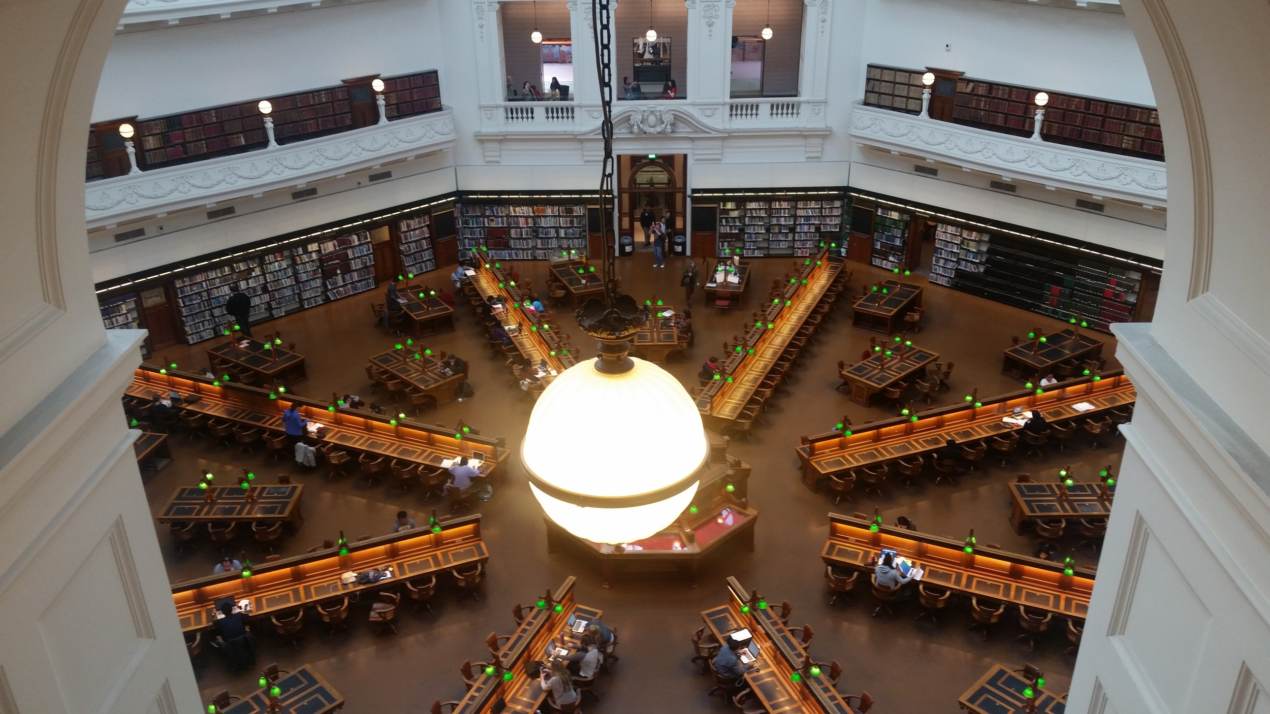Neoclassical architecture in the State Library of Victoria.
