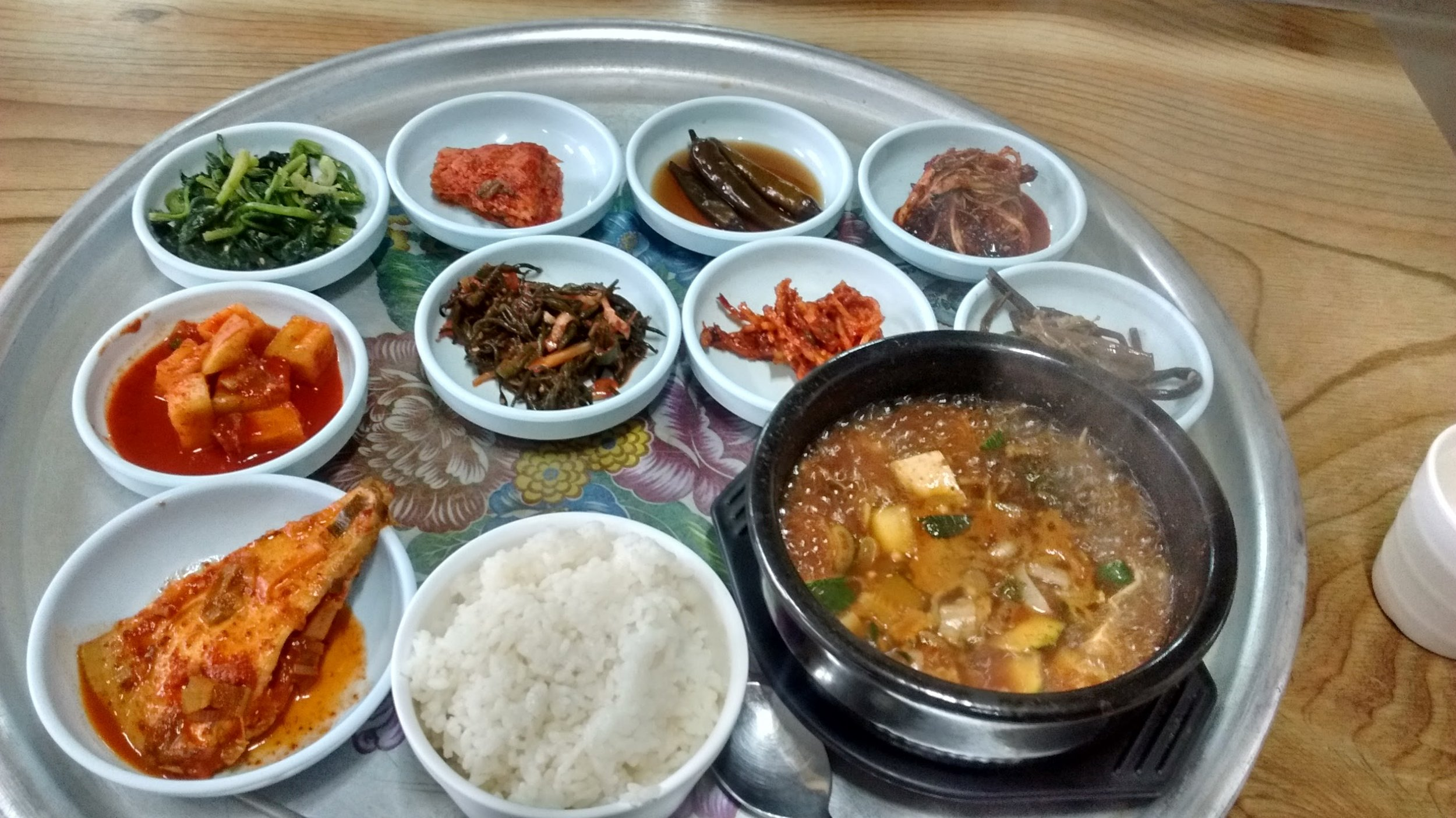 A typical Korean dinner. Total: $6