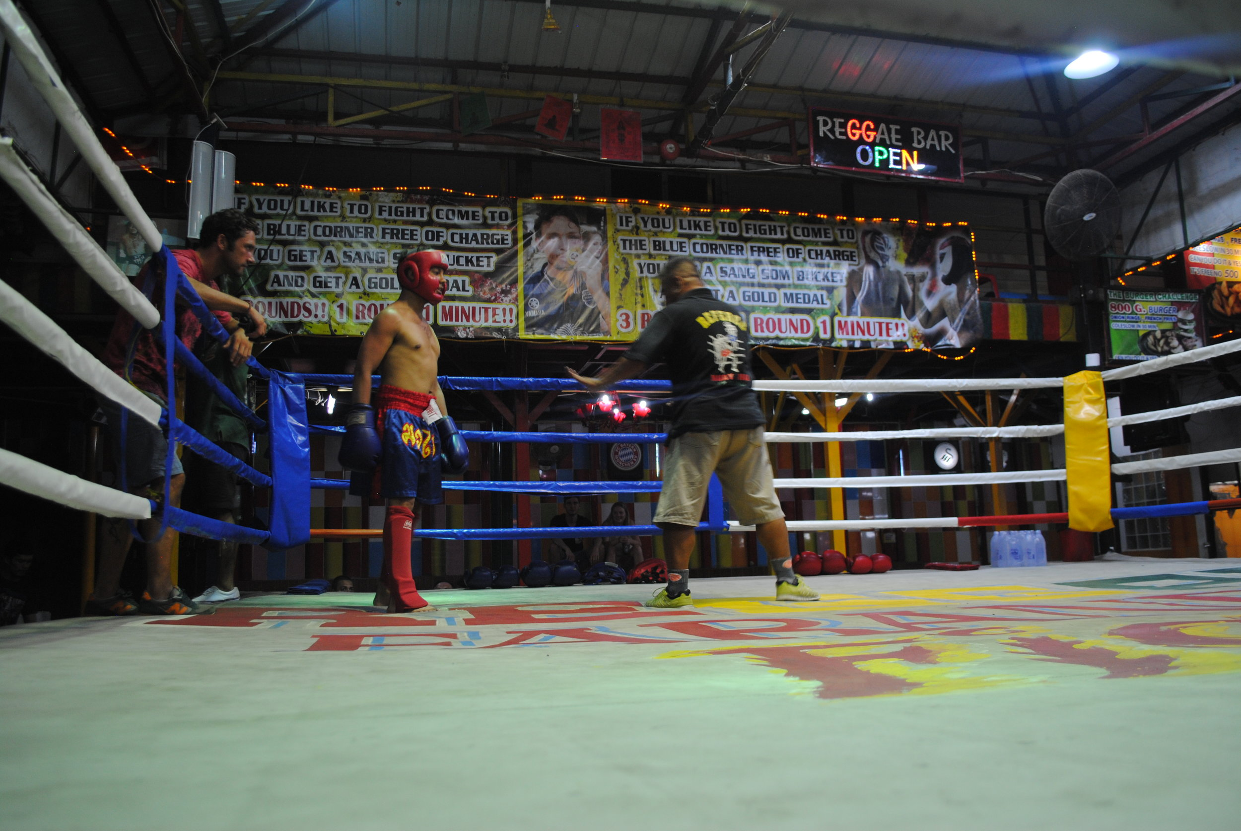 """An example of what makes Thailand """"The Perfect Adventure"""" – Muay Thai fighting at Reggae Bar"""