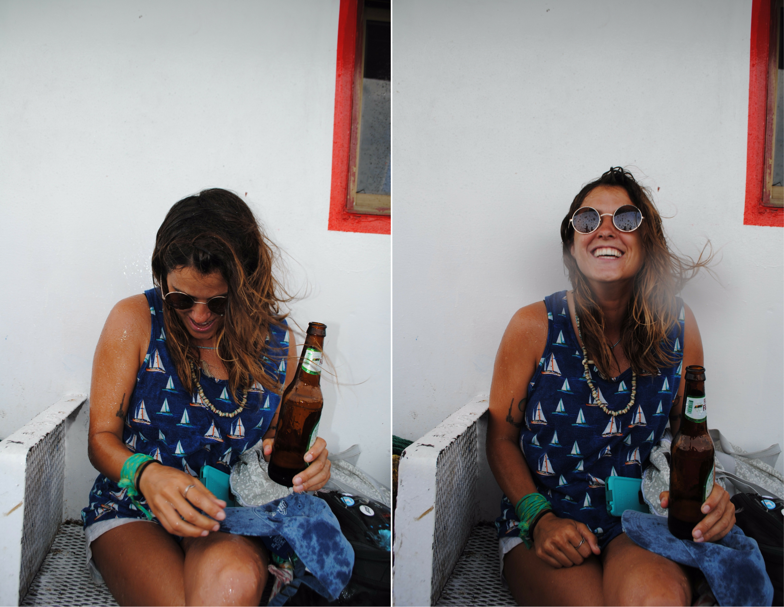 My friend Annie making the most out of a Toña beer in Nicaragua
