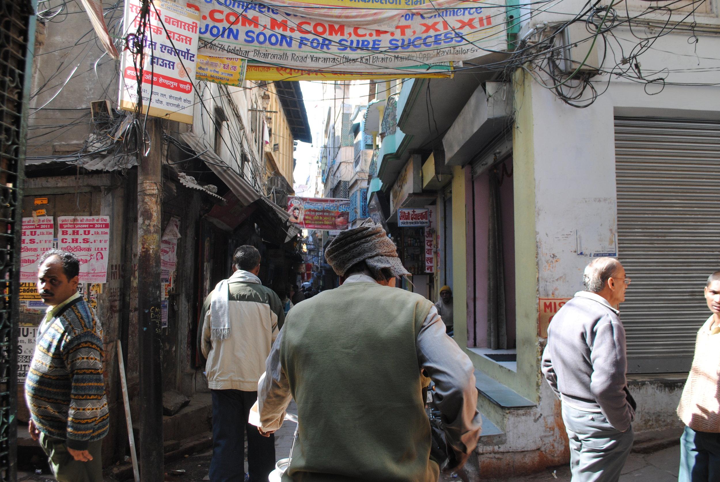 A rickshaw ride in the byzantine labyrinth of Varanasi, India
