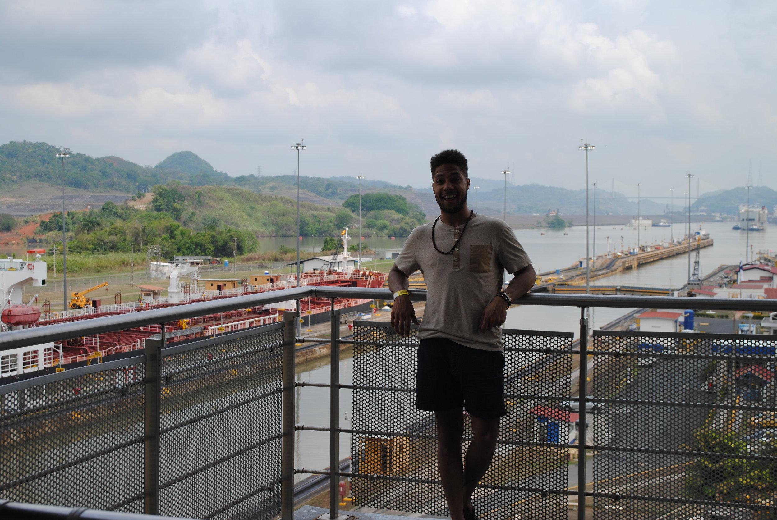 Me being safe at the Miraflores Locks, Panama