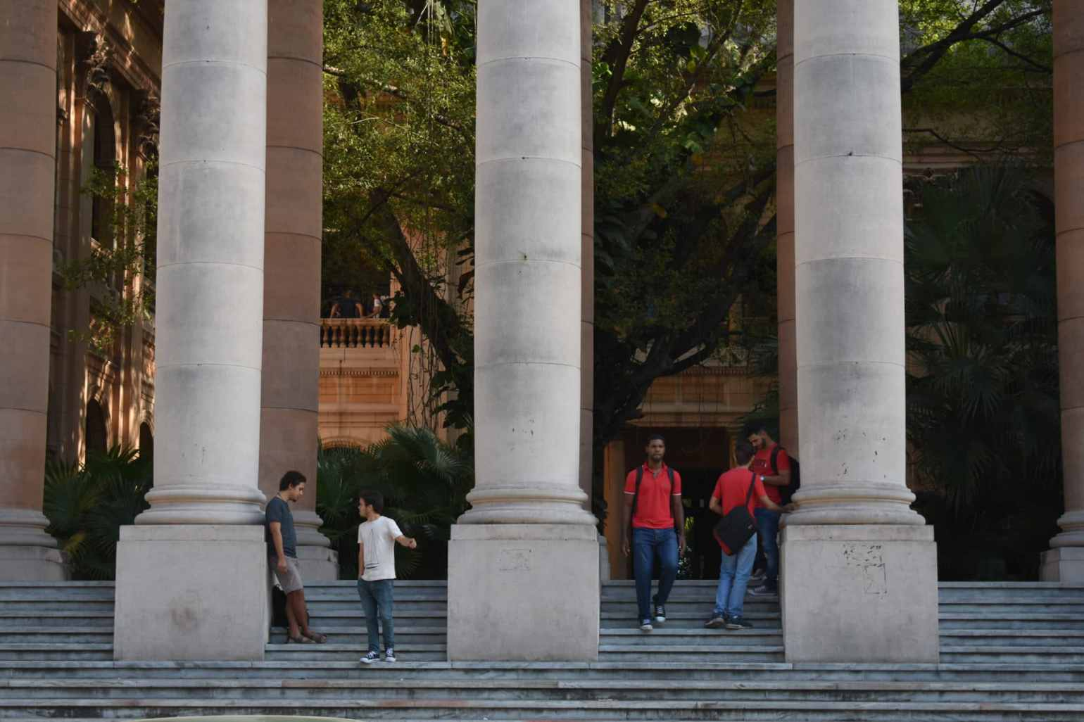 Cuban students hanging out at the University of Havana