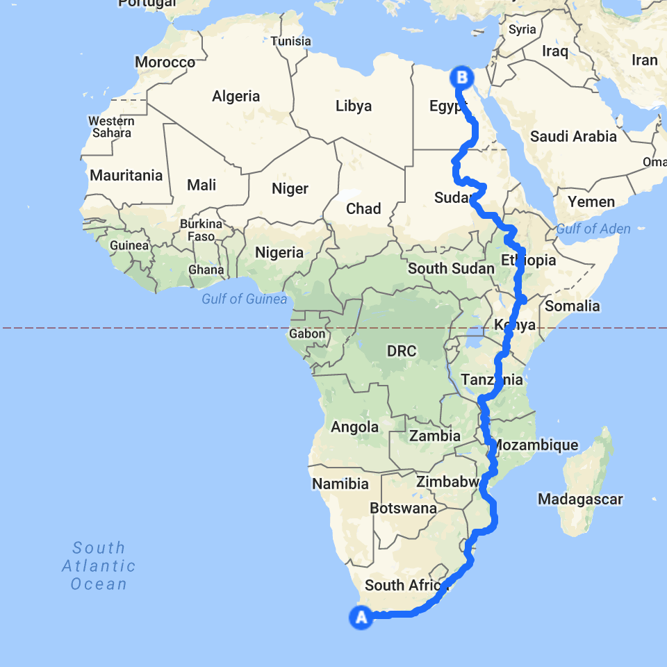 Mario's route, from Cape Town to Cairo.
