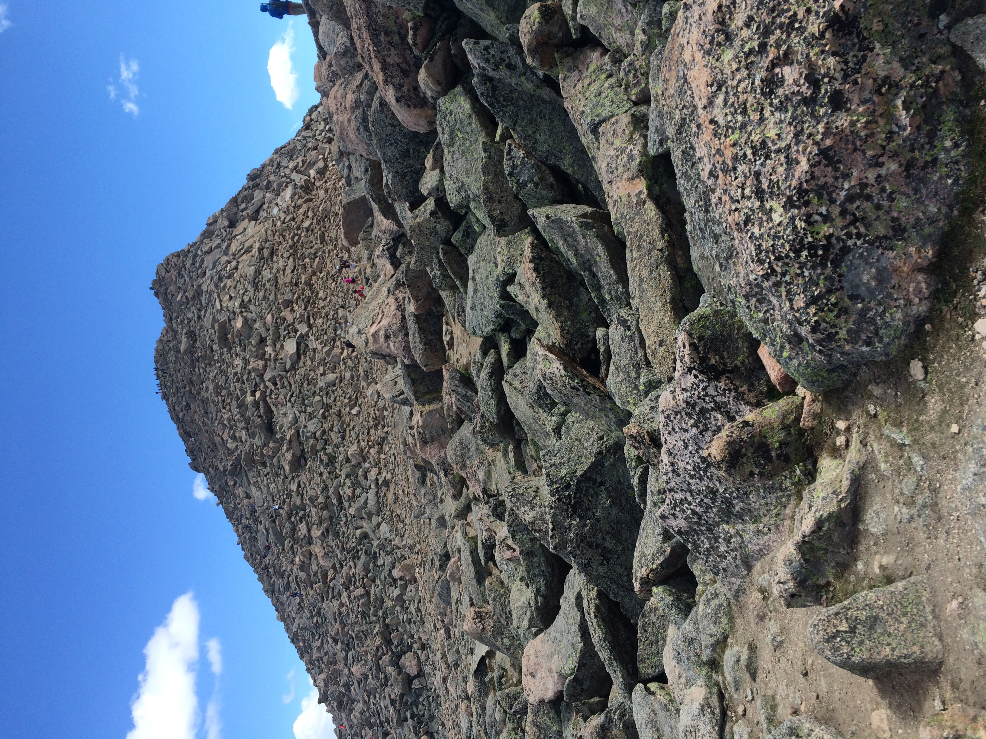 Well, this is the reason Mount Bierstadt is considered Class 2. Lots of scrambling and route-finding. (People for scale)