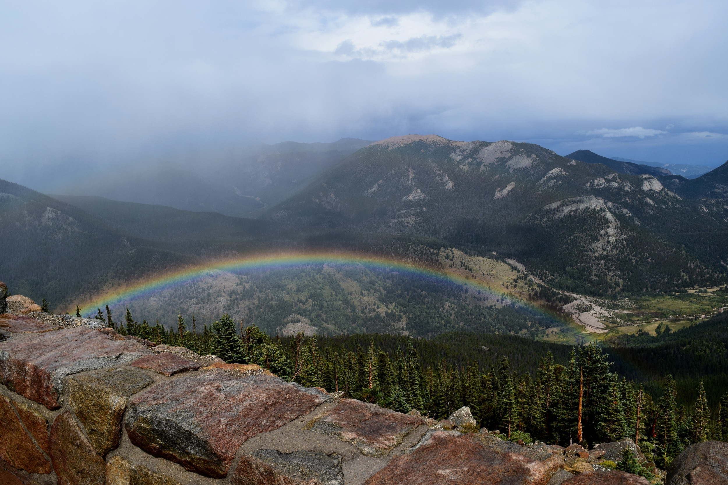 Surprisng double rainbow over the edge of Rainbow Curve (the second one is faint, but shows up on the middle left