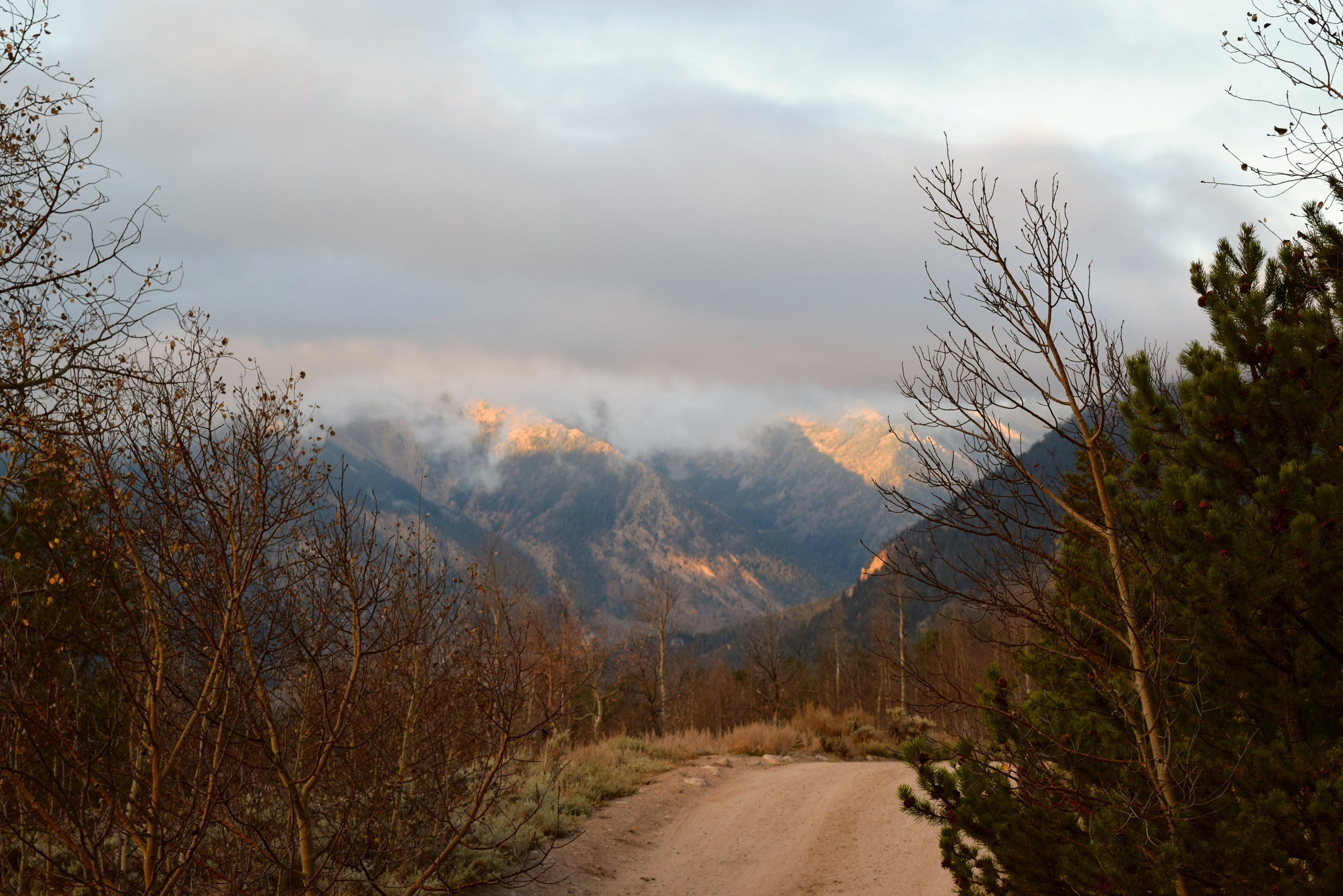Sunrise off the mountains. This road leads to the Upper Trailhead for Mount Elbert - only 4WD accessible.