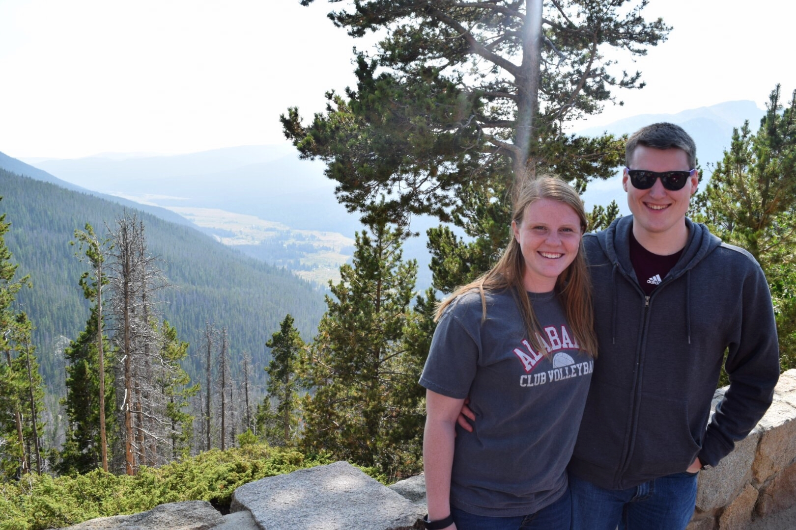 A picture a very kind Park Ranger took of us on our first complete drive of Trail Ridge Road. He told us there would be moose in that valley. He lied.