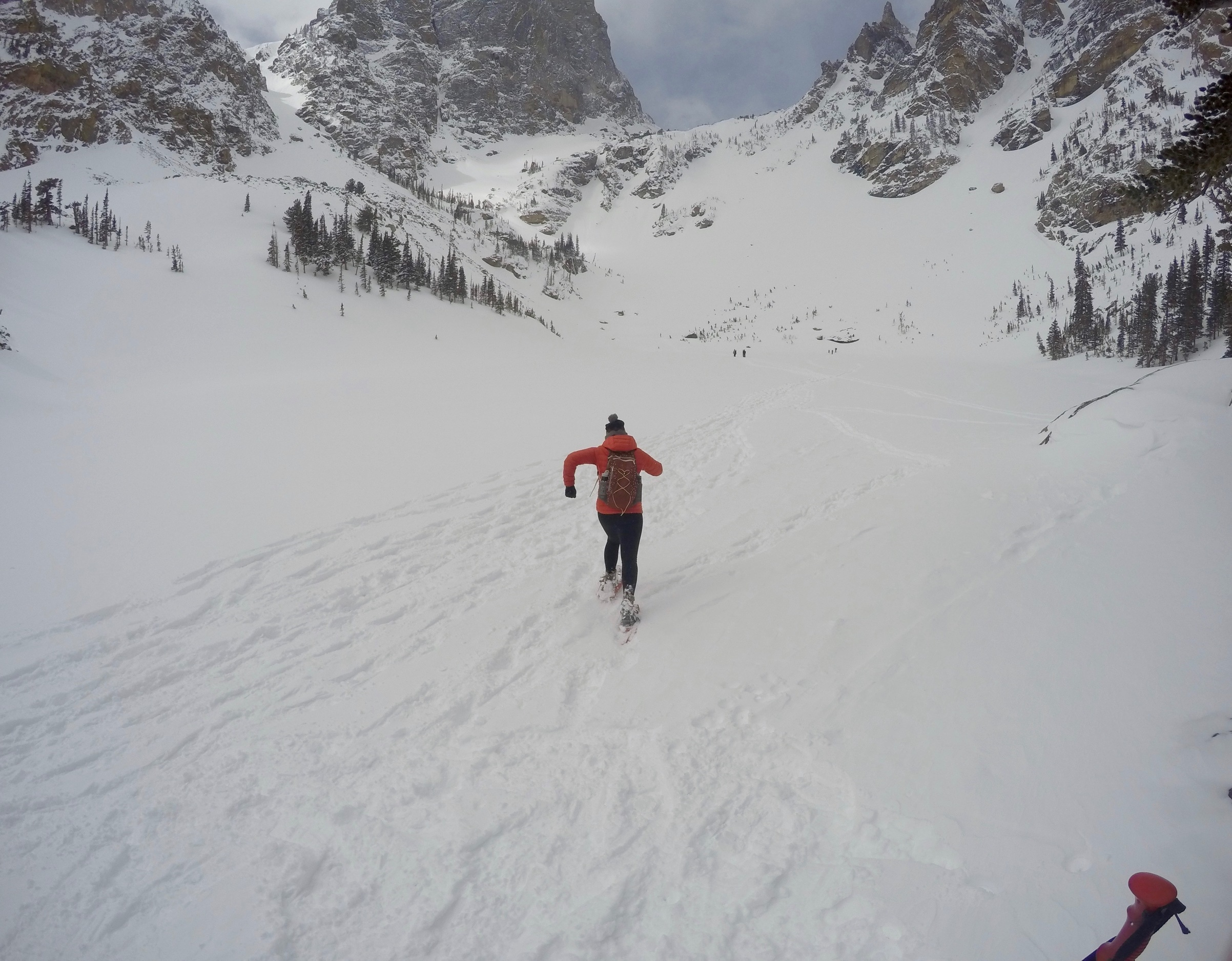 Running in snowshoes is so much fun.