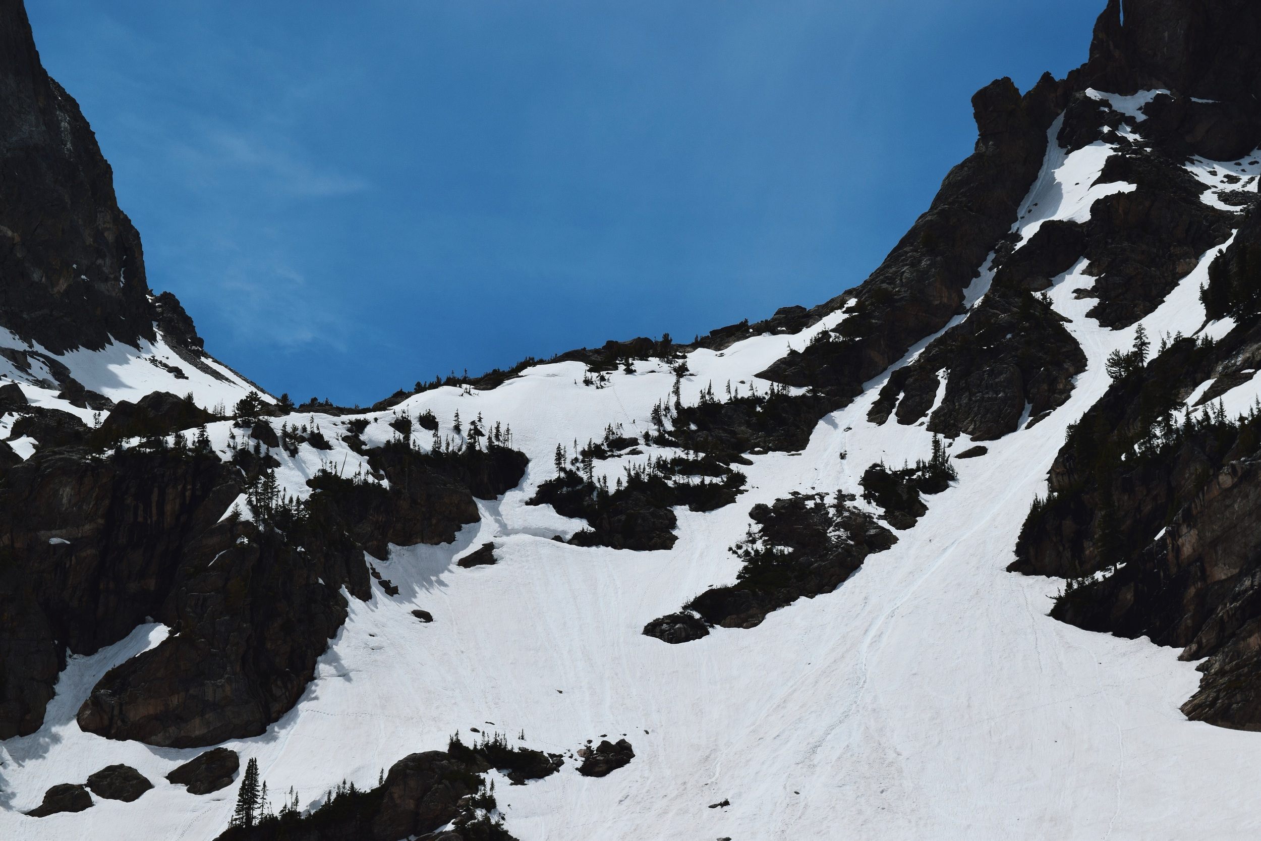 You can see the ski tracks and the mini-avalanche/snow slide on the right