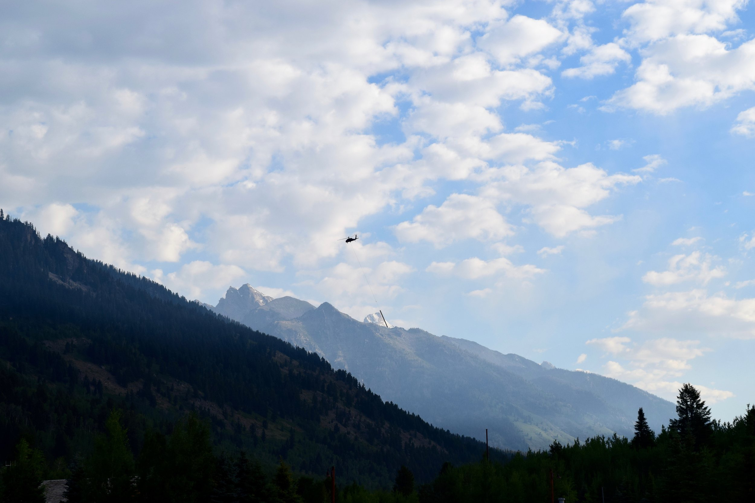 They were installing a new ski lift while we were there - this is a helicopter carrying all the different parts of the lift from the base of Teton Village to the side of the mountain.