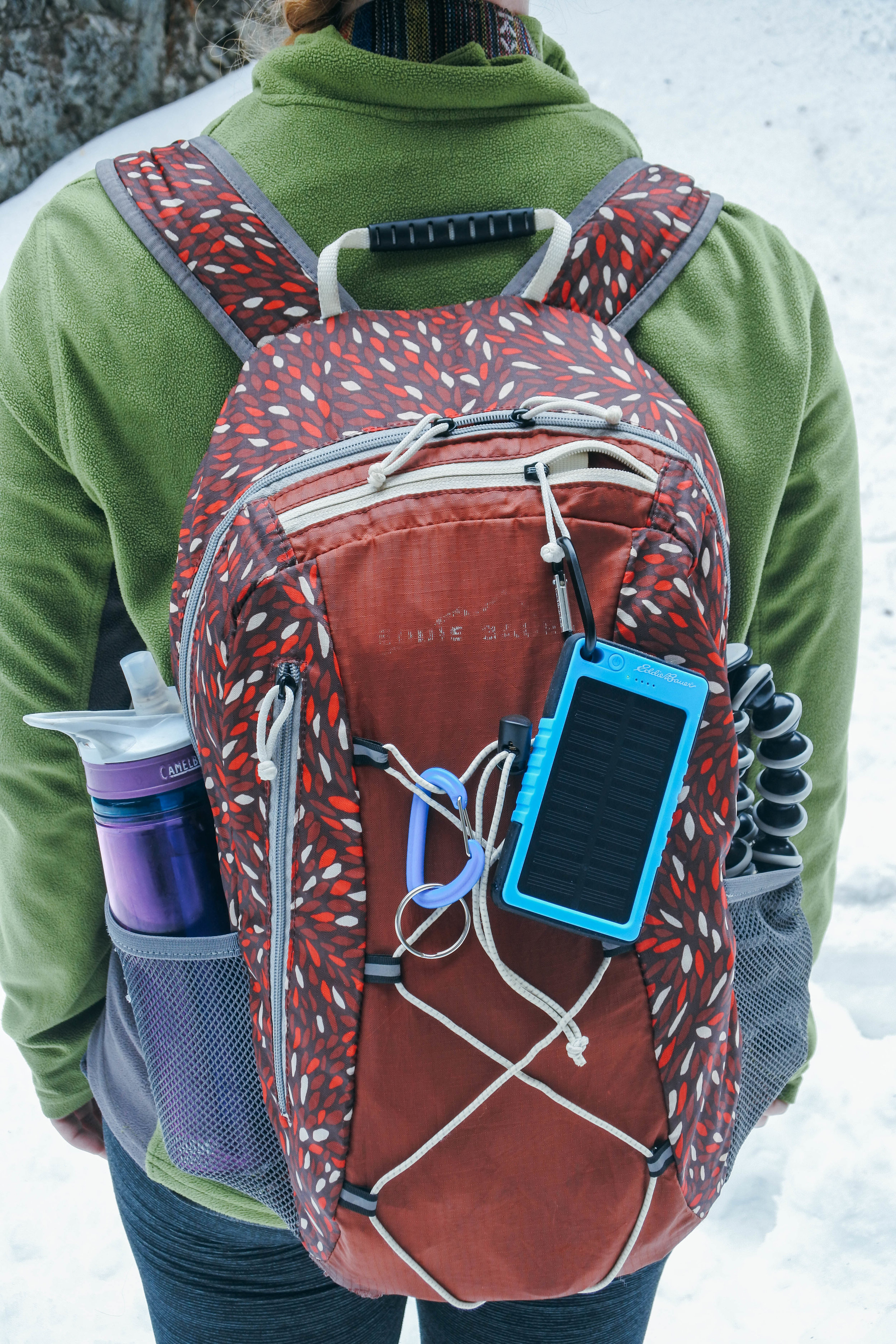 All packed up for a winter adventure (and featuring the Eddie Bauer solar charger my sister got me for Christmas!)