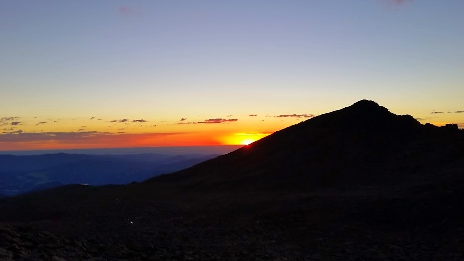Sunrise on the climb up Long's Peak