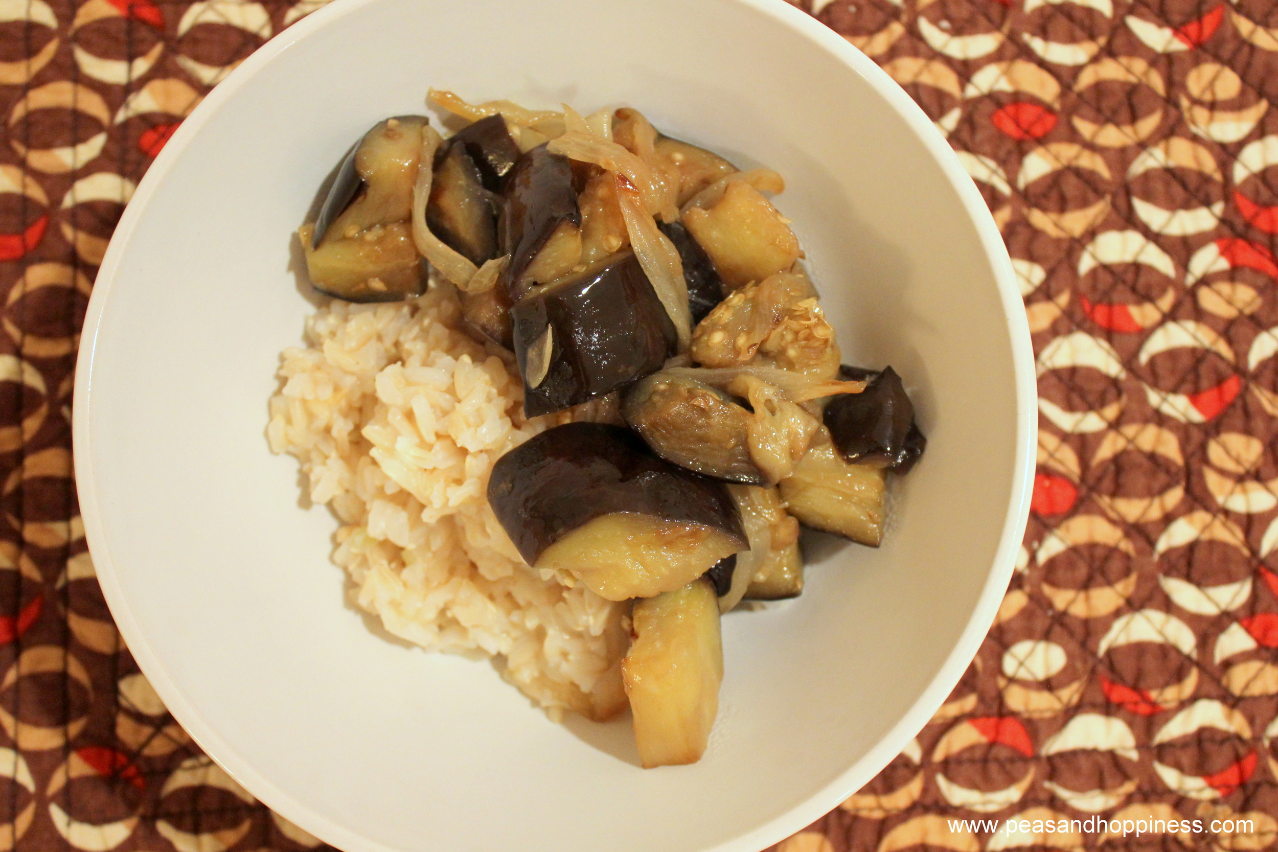 Savory Eggplant over Rice from Peas and Hoppiness - www.peasandhoppiness.com